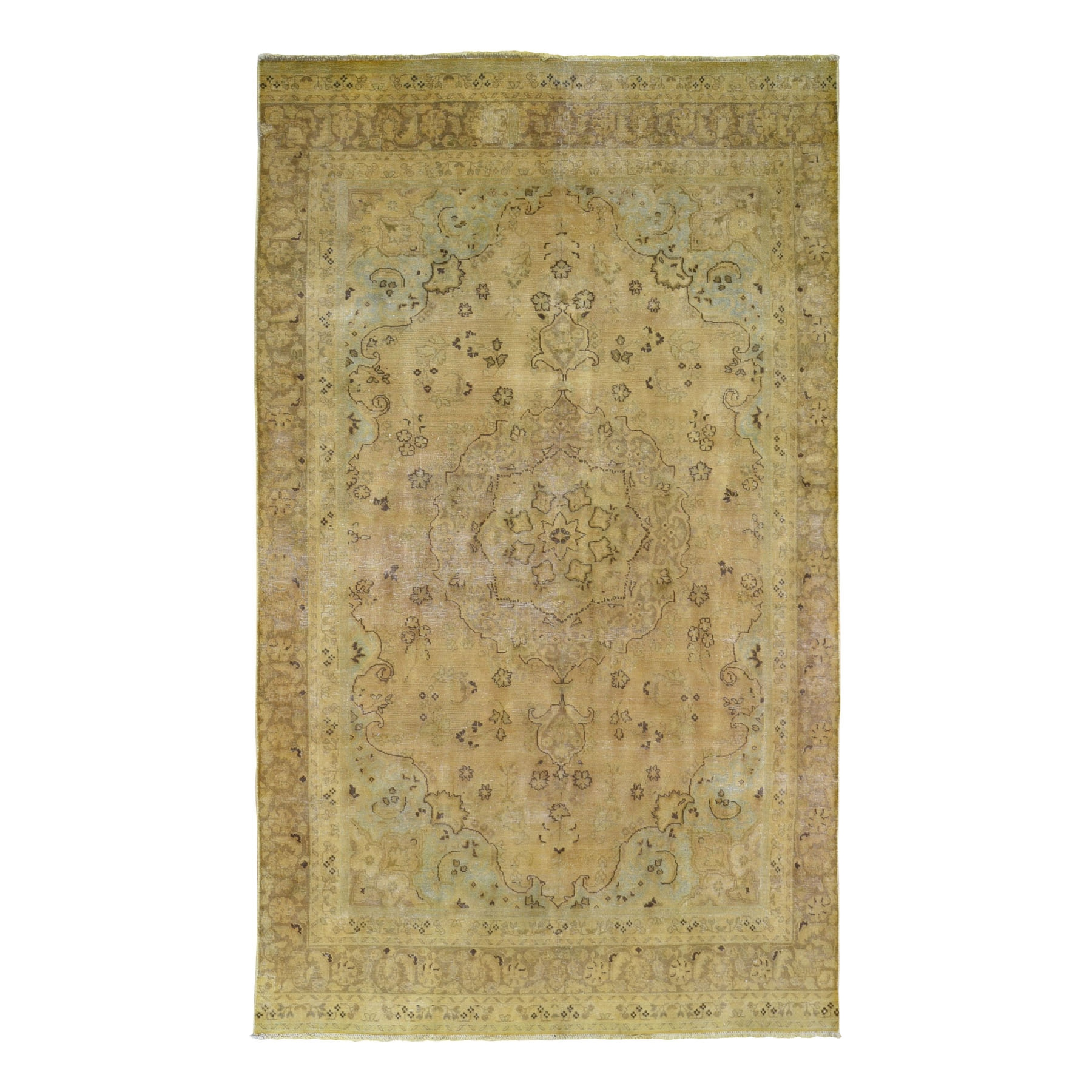 Fetneh Collection And Vintage Overdyed Collection Hand Knotted Yellow Rug No: 0199242