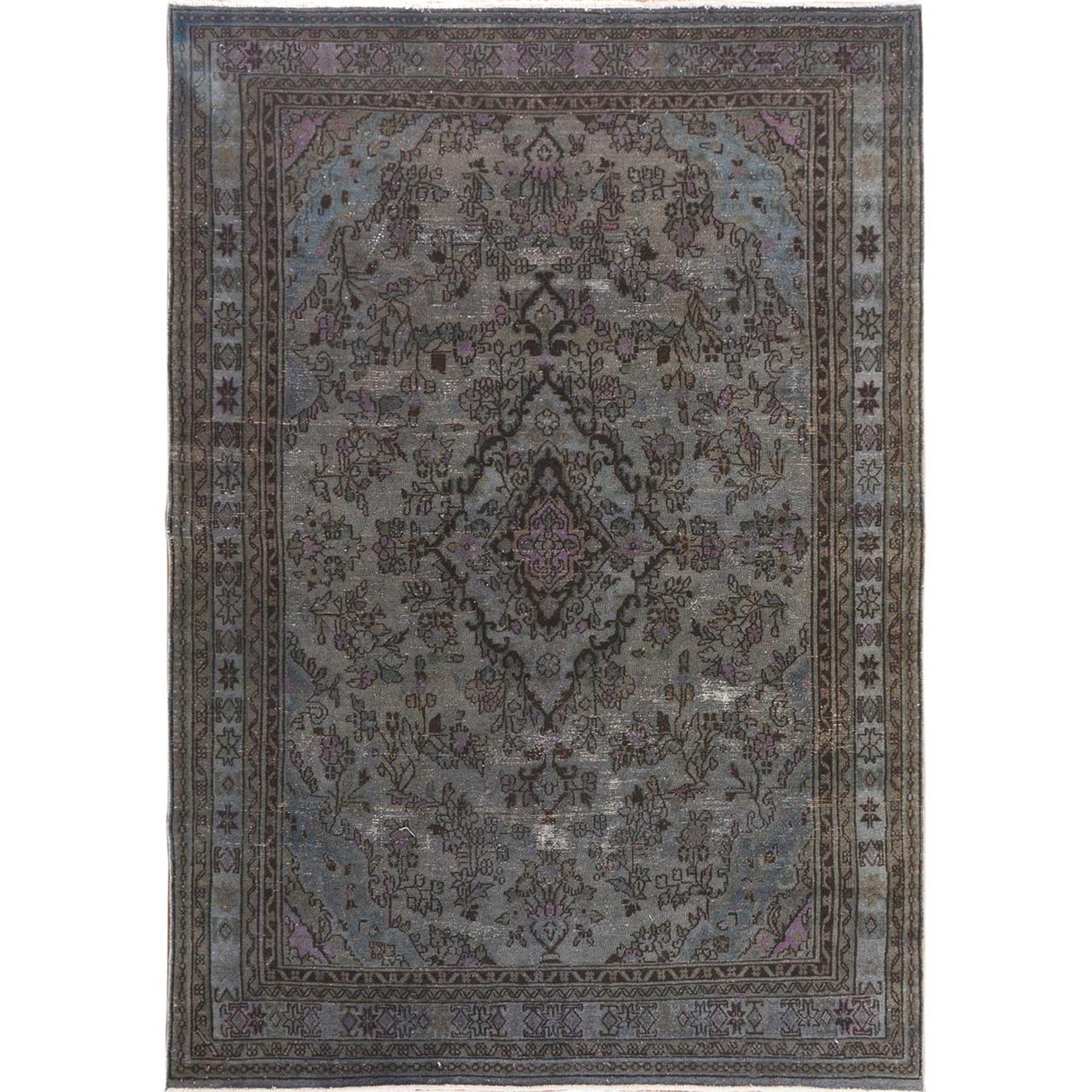 Fetneh Collection And Vintage Overdyed Collection Hand Knotted Grey Rug No: 1114718