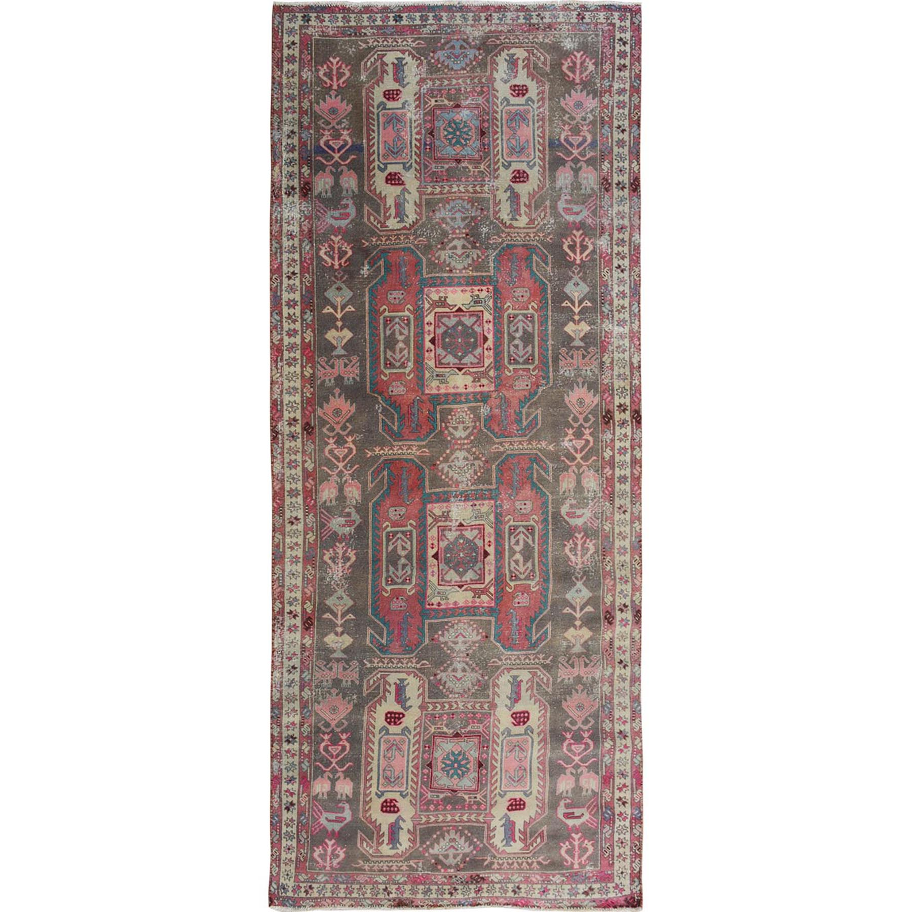 Fetneh Collection And Vintage Overdyed Collection Hand Knotted Green Rug No: 1114220