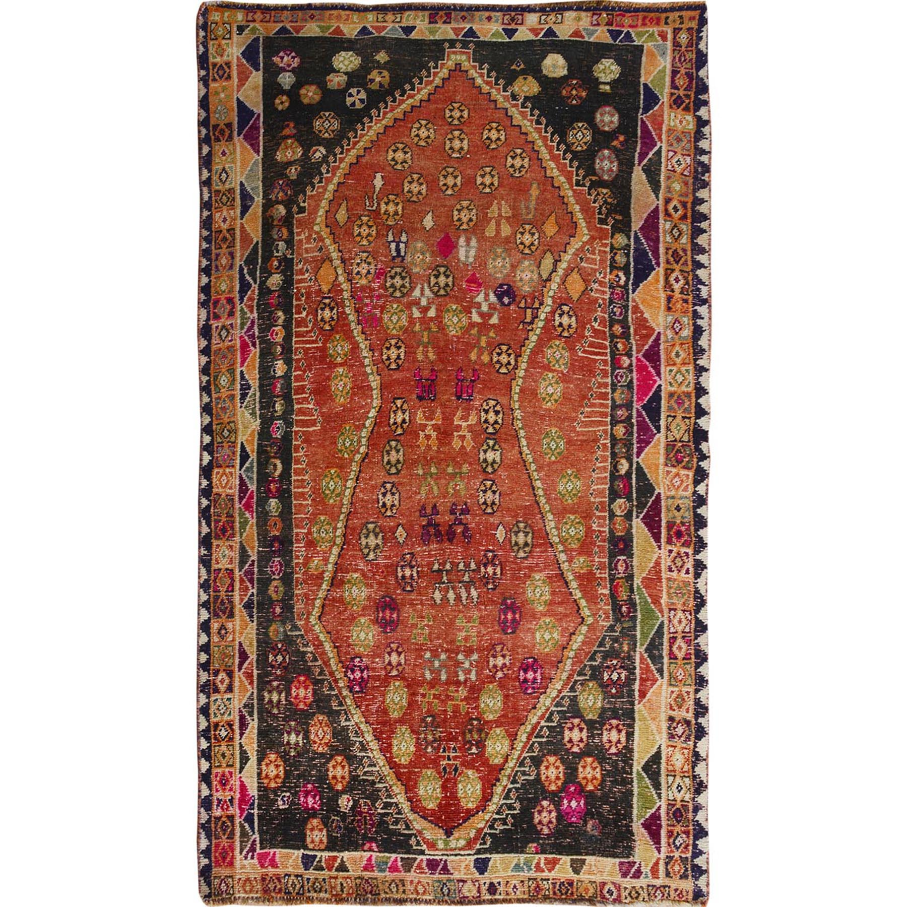 Fetneh Collection And Vintage Overdyed Collection Hand Knotted Orange Rug No: 1114226