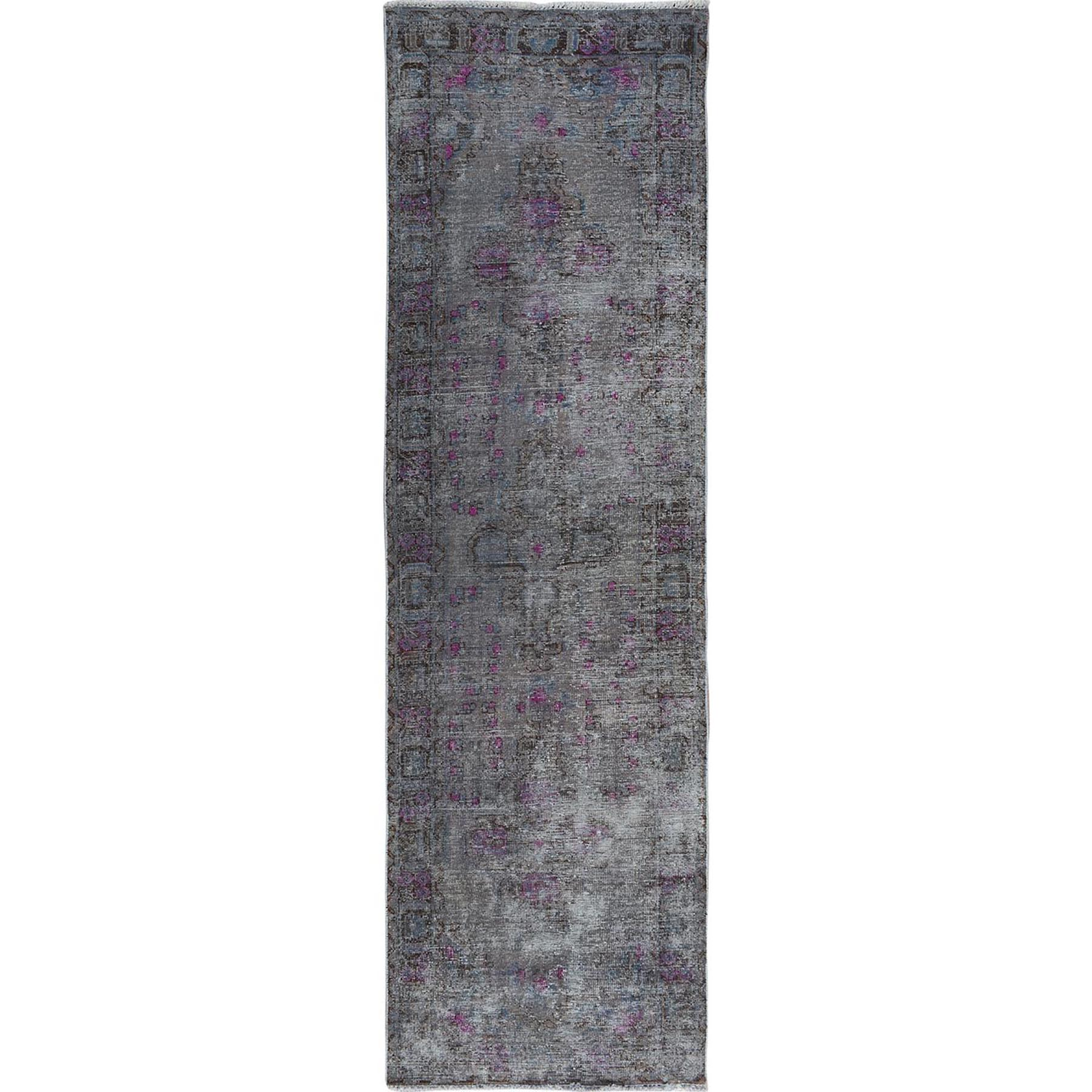 Fetneh Collection And Vintage Overdyed Collection Hand Knotted Grey Rug No: 01114314
