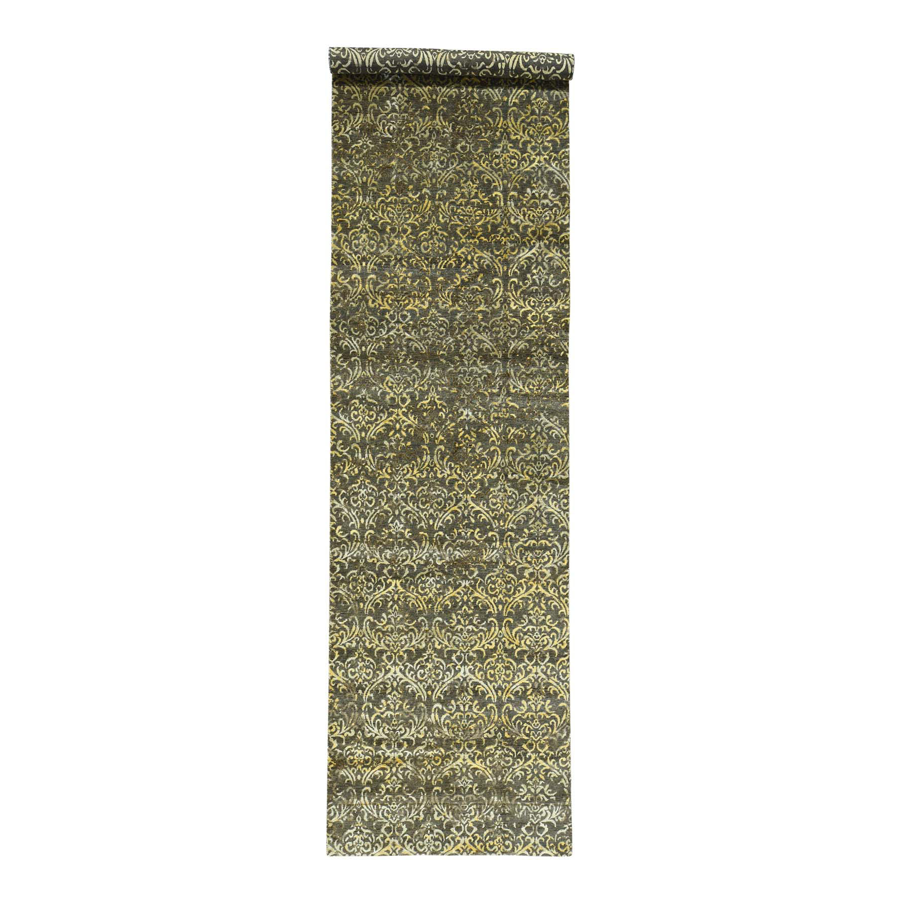 Mid Century Modern Collection Hand Knotted Brown Rug No: 0163406