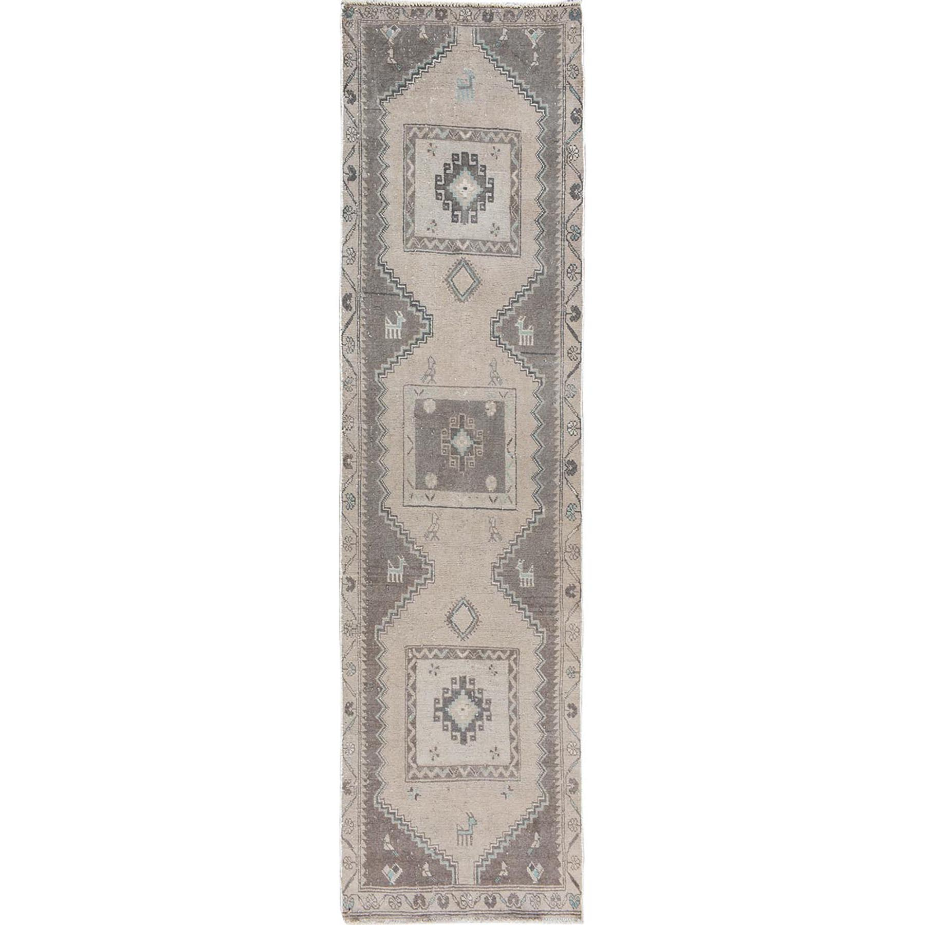 Fetneh Collection And Vintage Overdyed Collection Hand Knotted Beige Rug No: 1114416