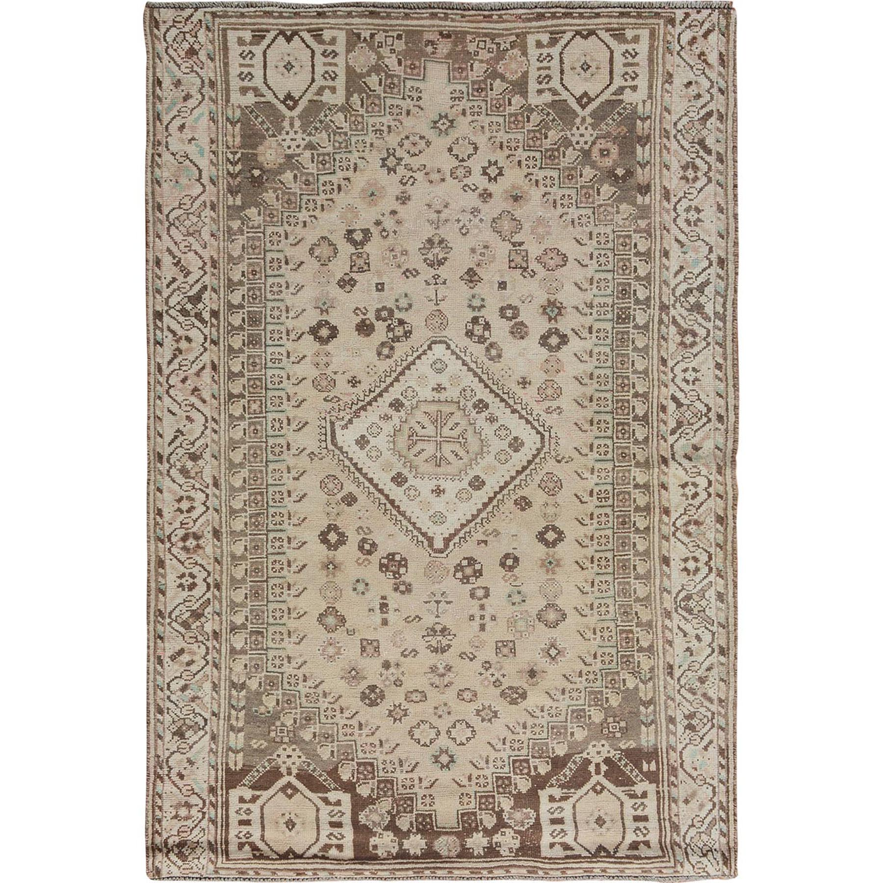 Fetneh Collection And Vintage Overdyed Collection Hand Knotted Beige Rug No: 1114424
