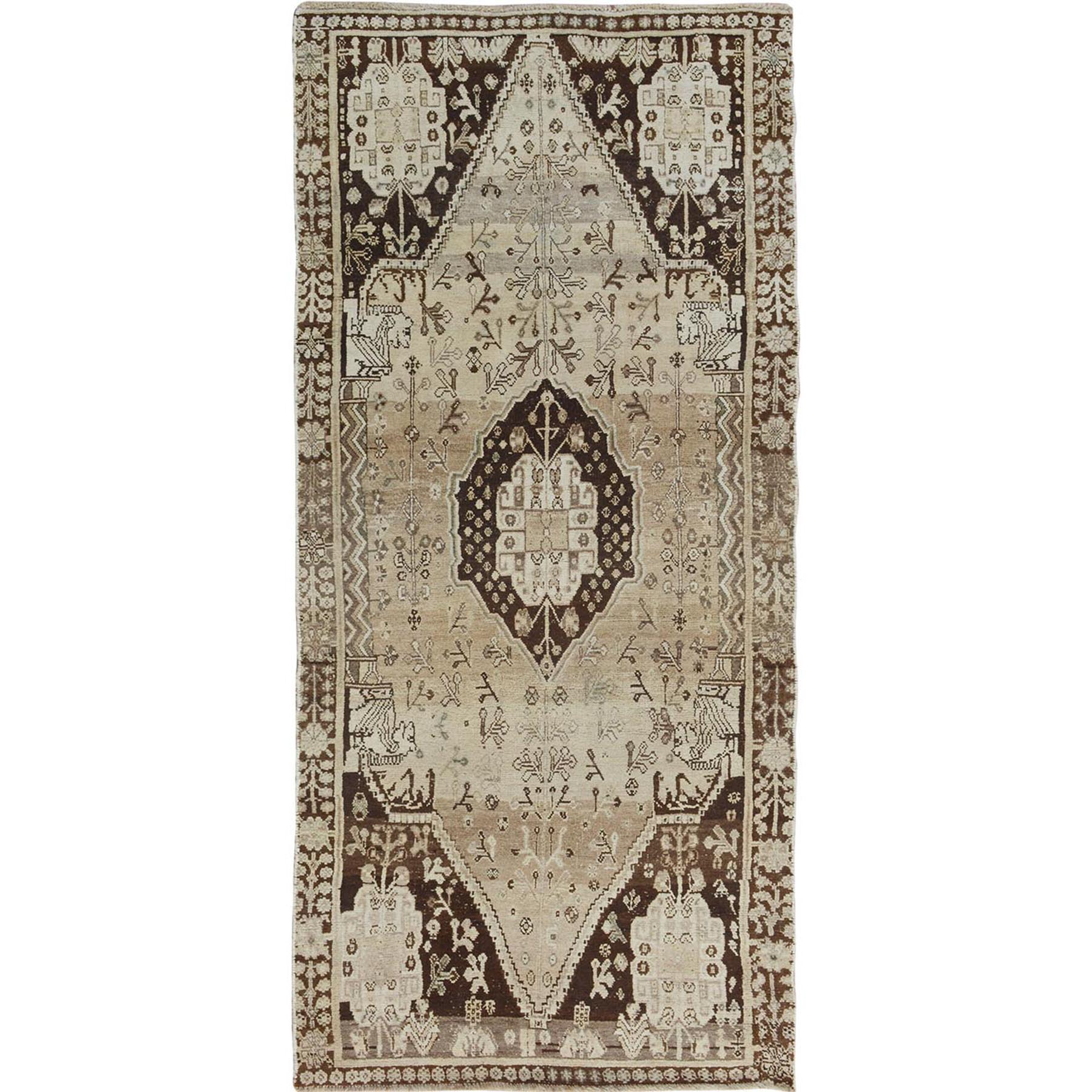 Fetneh Collection And Vintage Overdyed Collection Hand Knotted Beige Rug No: 01114426