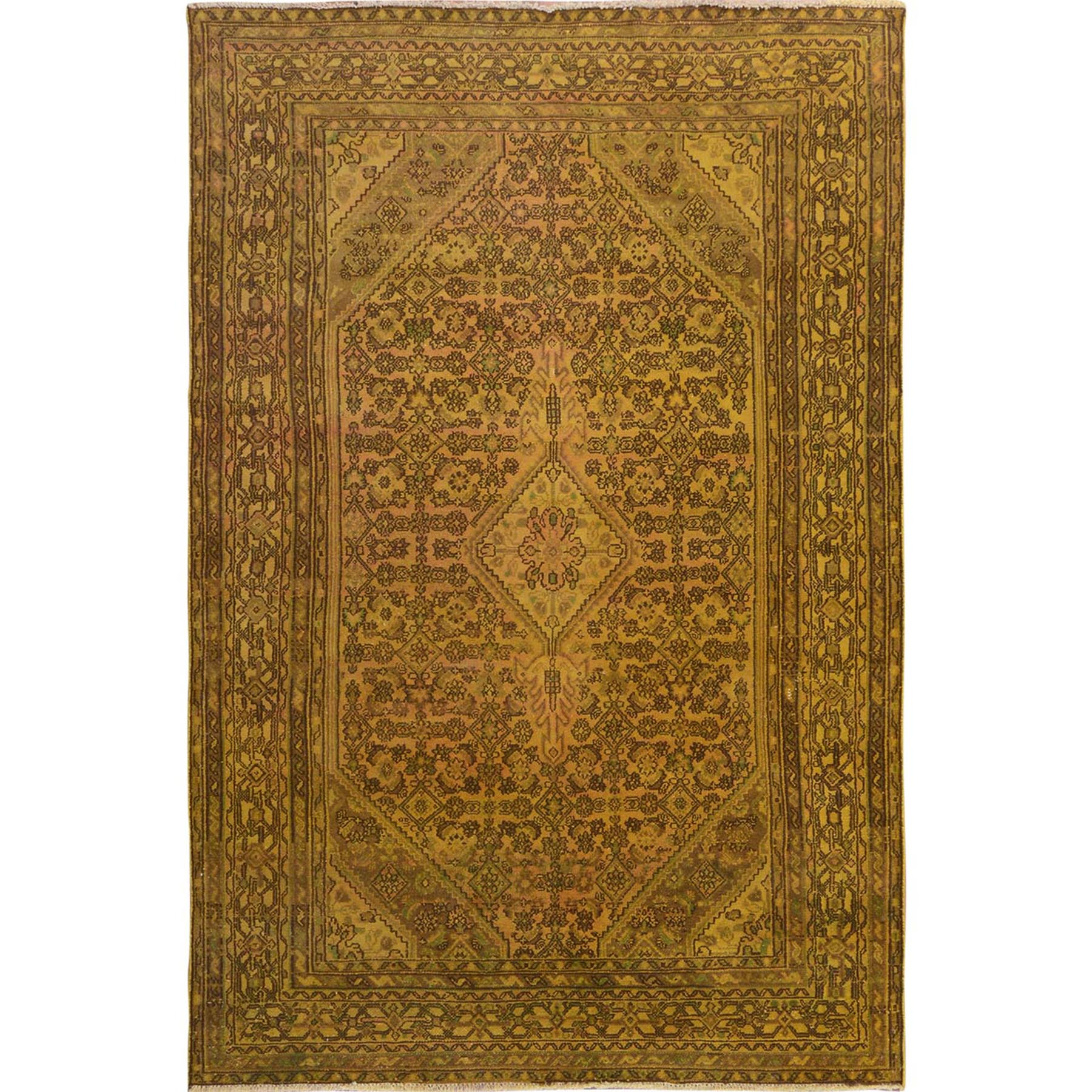 Fetneh Collection And Vintage Overdyed Collection Hand Knotted Yellow Rug No: 1114728