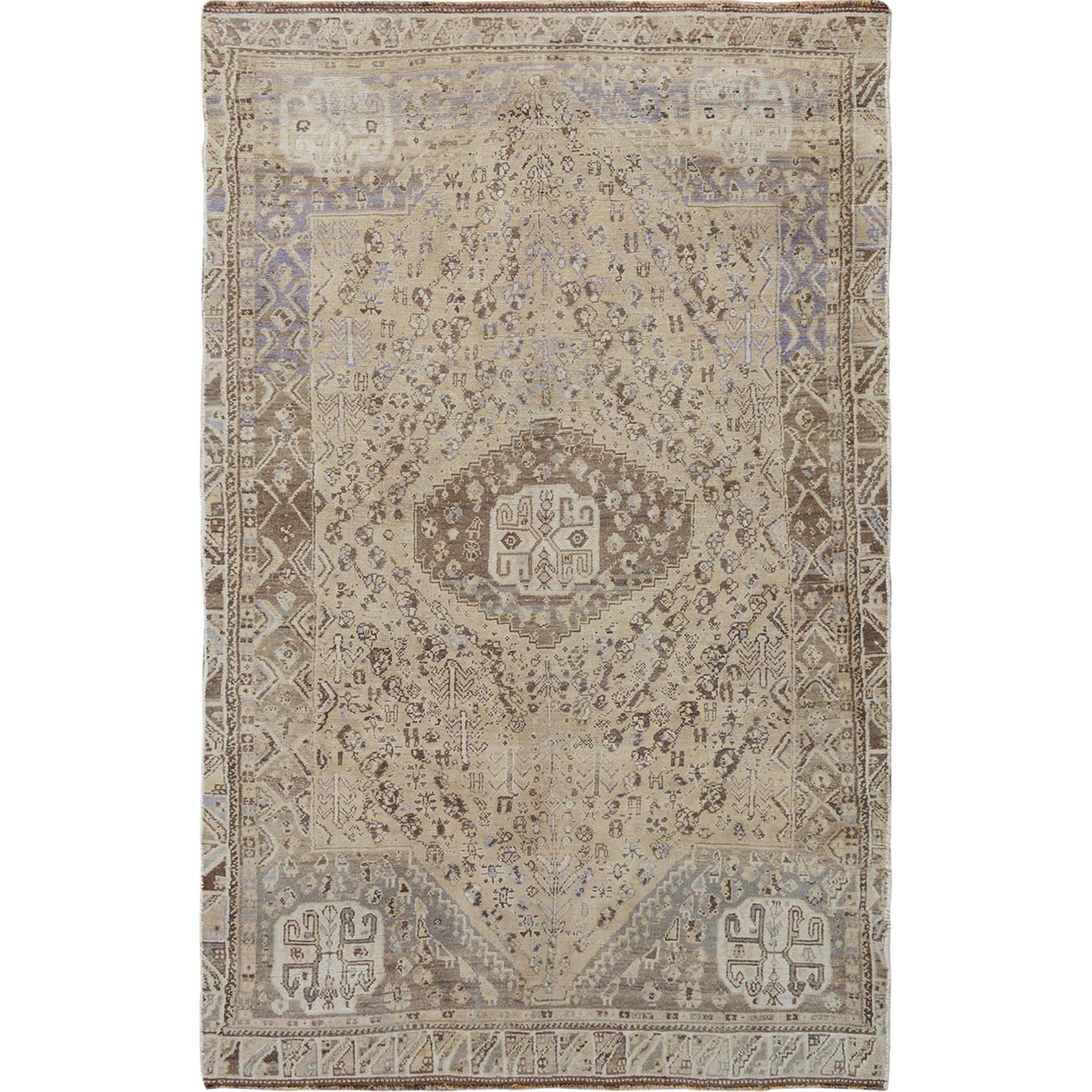 Fetneh Collection And Vintage Overdyed Collection Hand Knotted Beige Rug No: 1114428