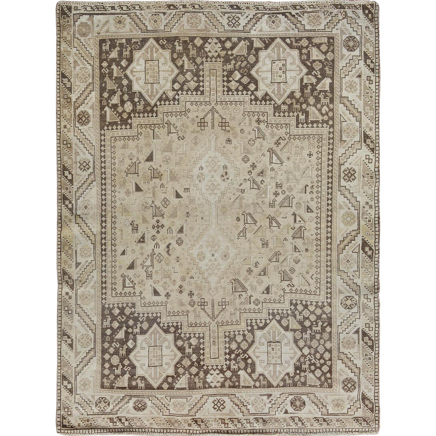 Fetneh Collection And Vintage Overdyed Collection Hand Knotted Beige Rug No: 1114442