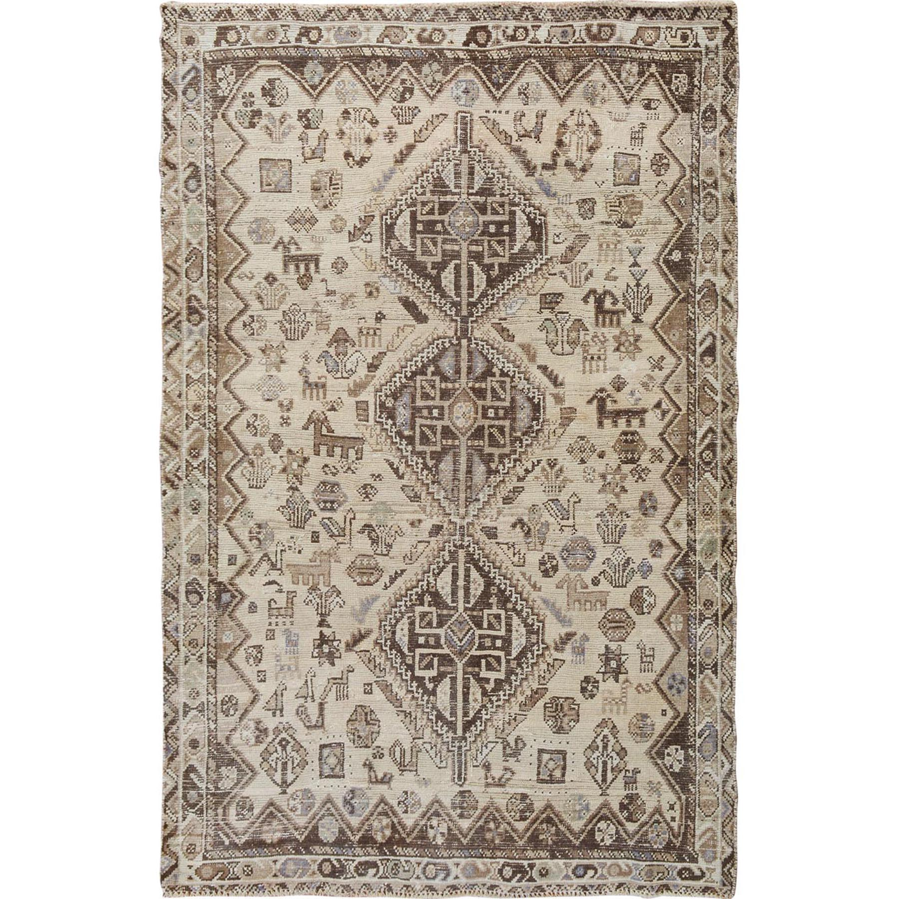 Fetneh Collection And Vintage Overdyed Collection Hand Knotted Beige Rug No: 1114476