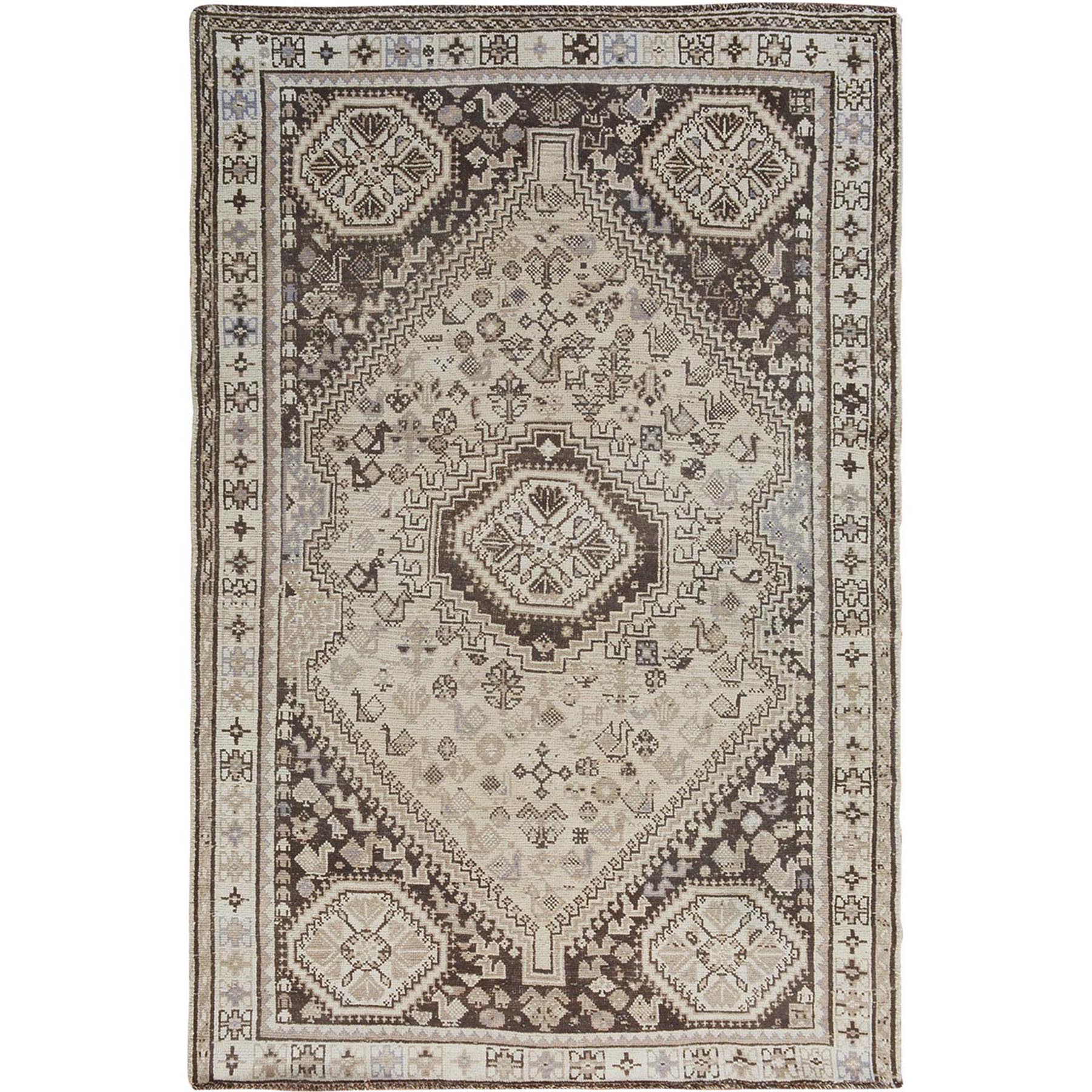 Fetneh Collection And Vintage Overdyed Collection Hand Knotted Beige Rug No: 1114478
