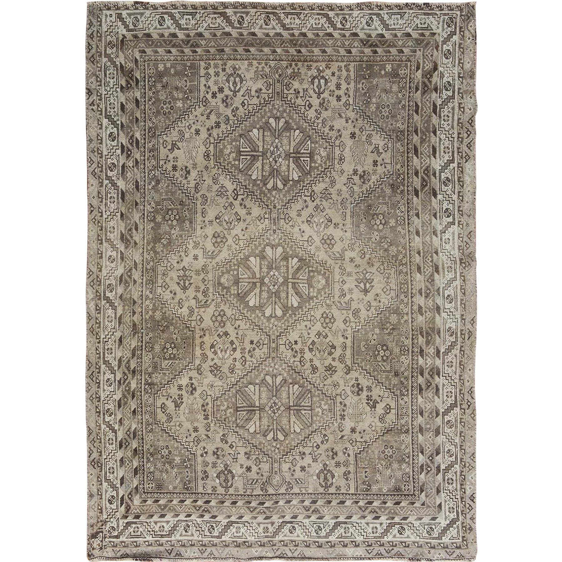 Fetneh Collection And Vintage Overdyed Collection Hand Knotted Beige Rug No: 1114484