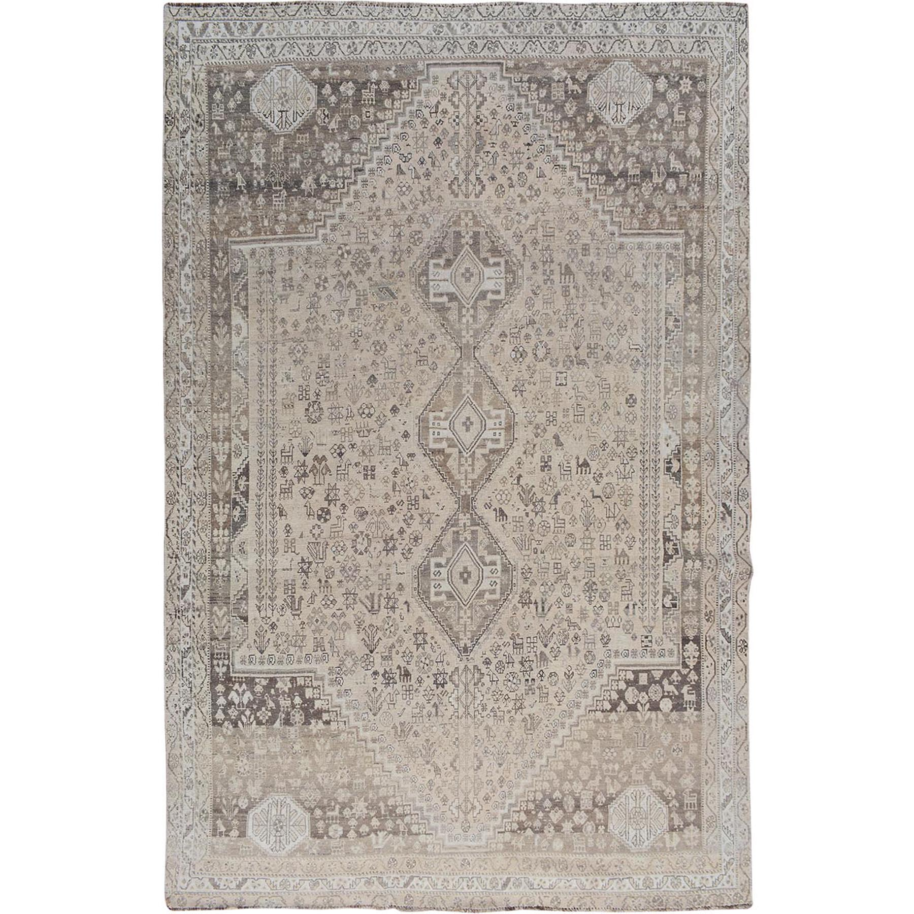 Fetneh Collection And Vintage Overdyed Collection Hand Knotted Beige Rug No: 1114532