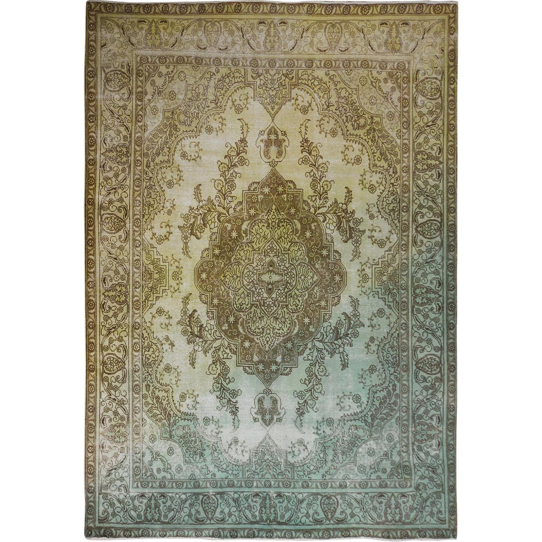 Fetneh Collection And Vintage Overdyed Collection Hand Knotted Yellow Rug No: 01114580