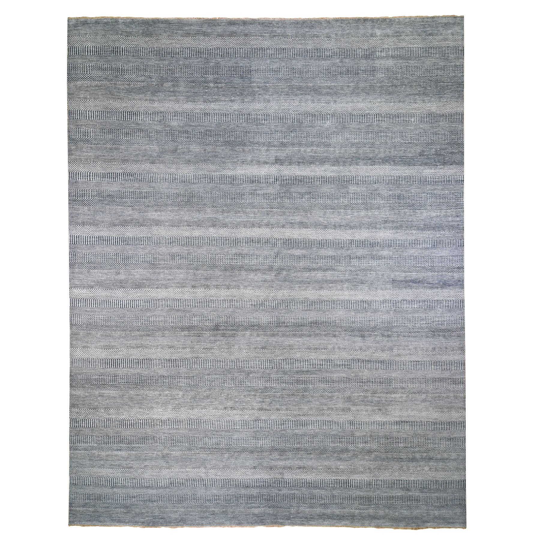 Mid Century Modern Collection Hand Knotted Blue Rug No: 0199306