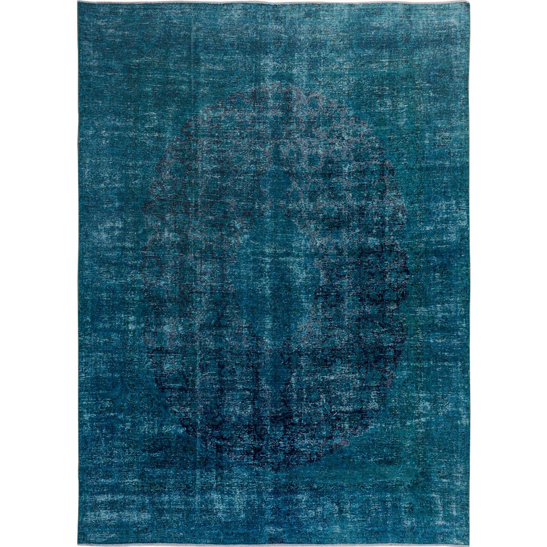 Fetneh Collection And Vintage Overdyed Collection Hand Knotted Green Rug No: 01114796