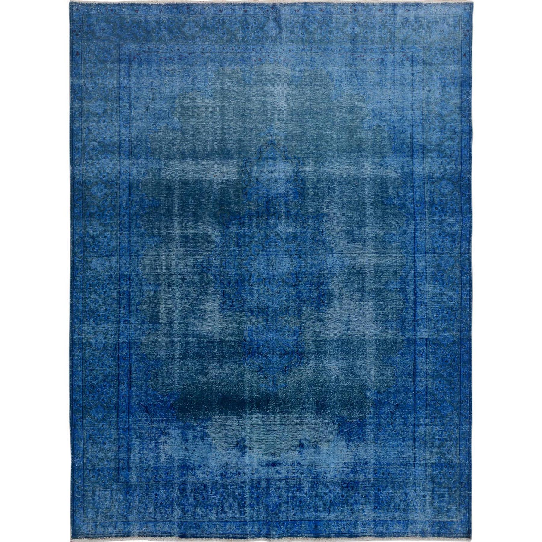 Fetneh Collection And Vintage Overdyed Collection Hand Knotted Blue Rug No: 01114814