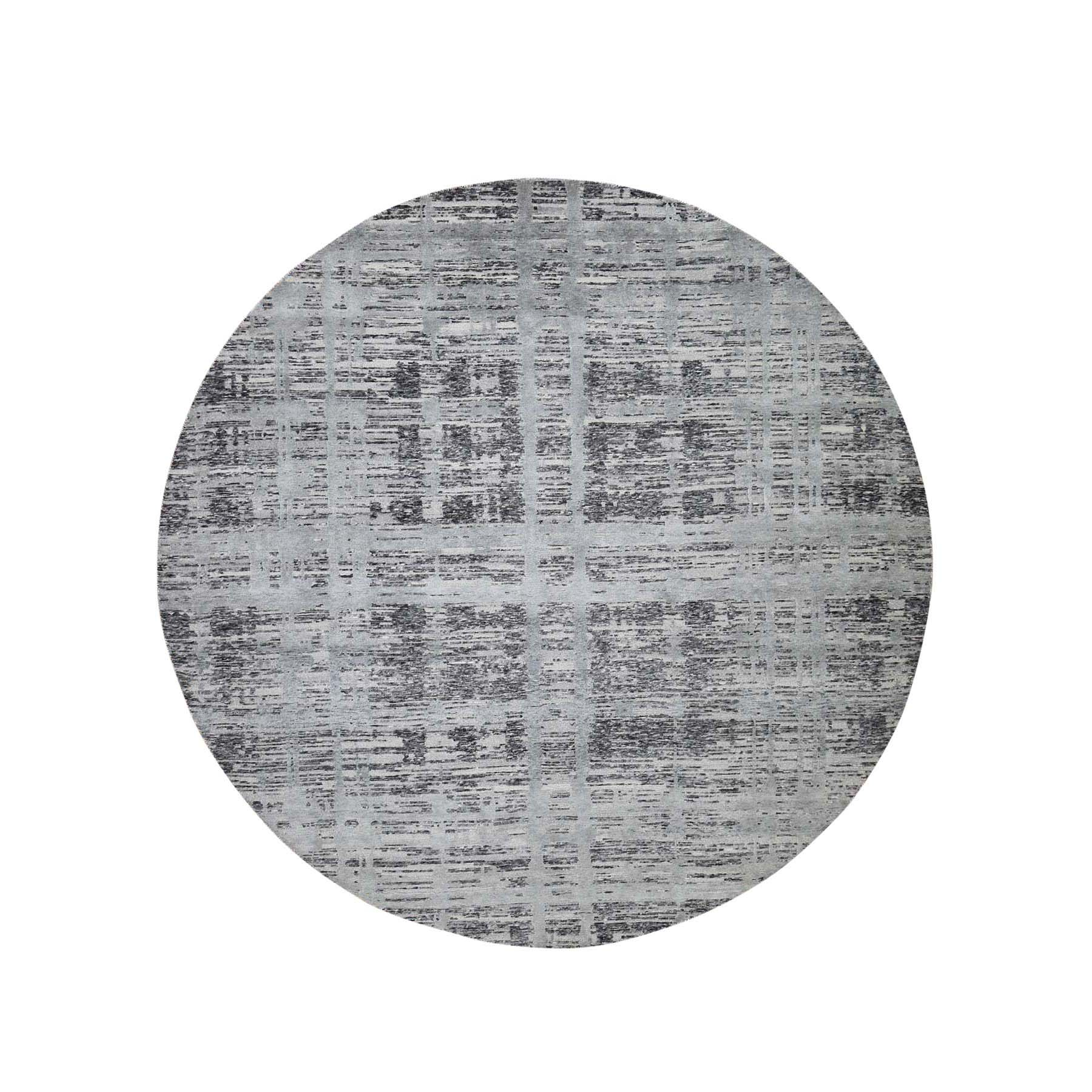 Mid Century Modern Collection Hand Knotted Grey Rug No: 191336