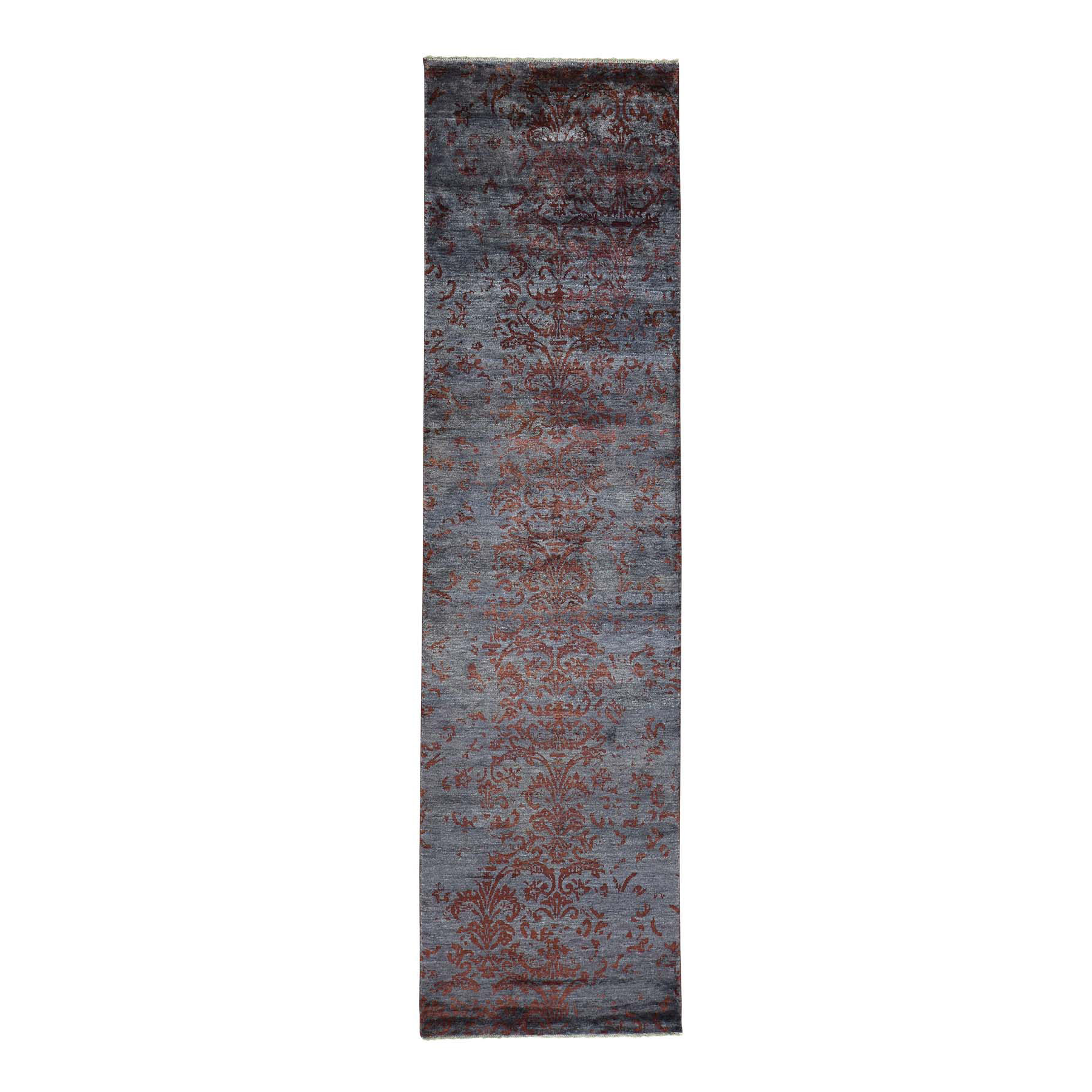 Mid Century Modern Collection Hand Knotted Grey Rug No: 0163606
