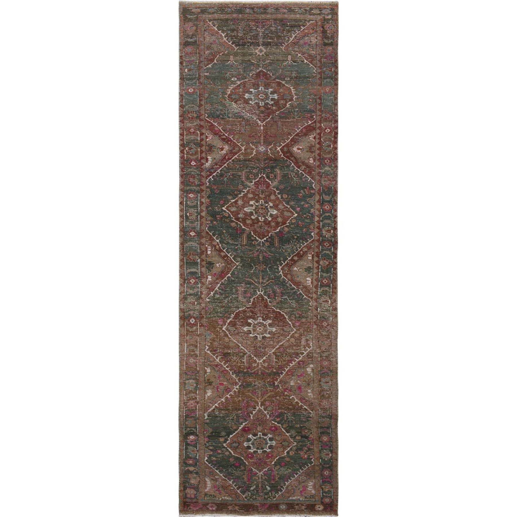 Fetneh Collection And Vintage Overdyed Collection Hand Knotted Green Rug No: 01115292
