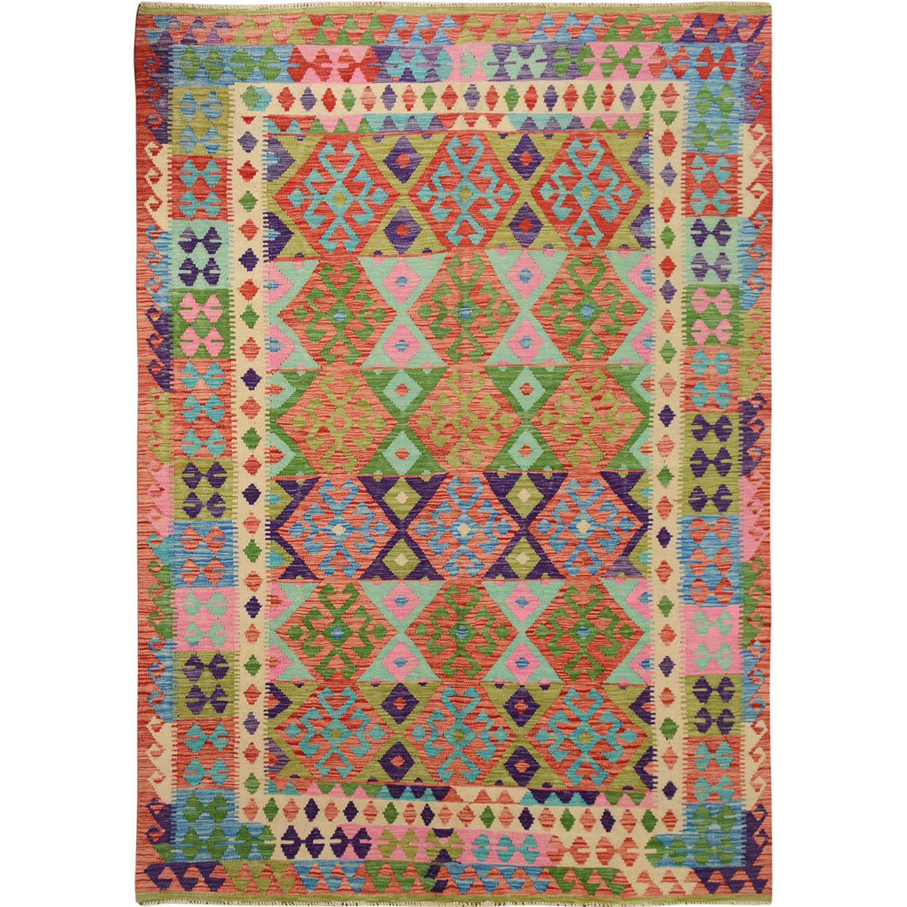 Fine Kilim Collection Hand Woven Pink Rug No: 01114882
