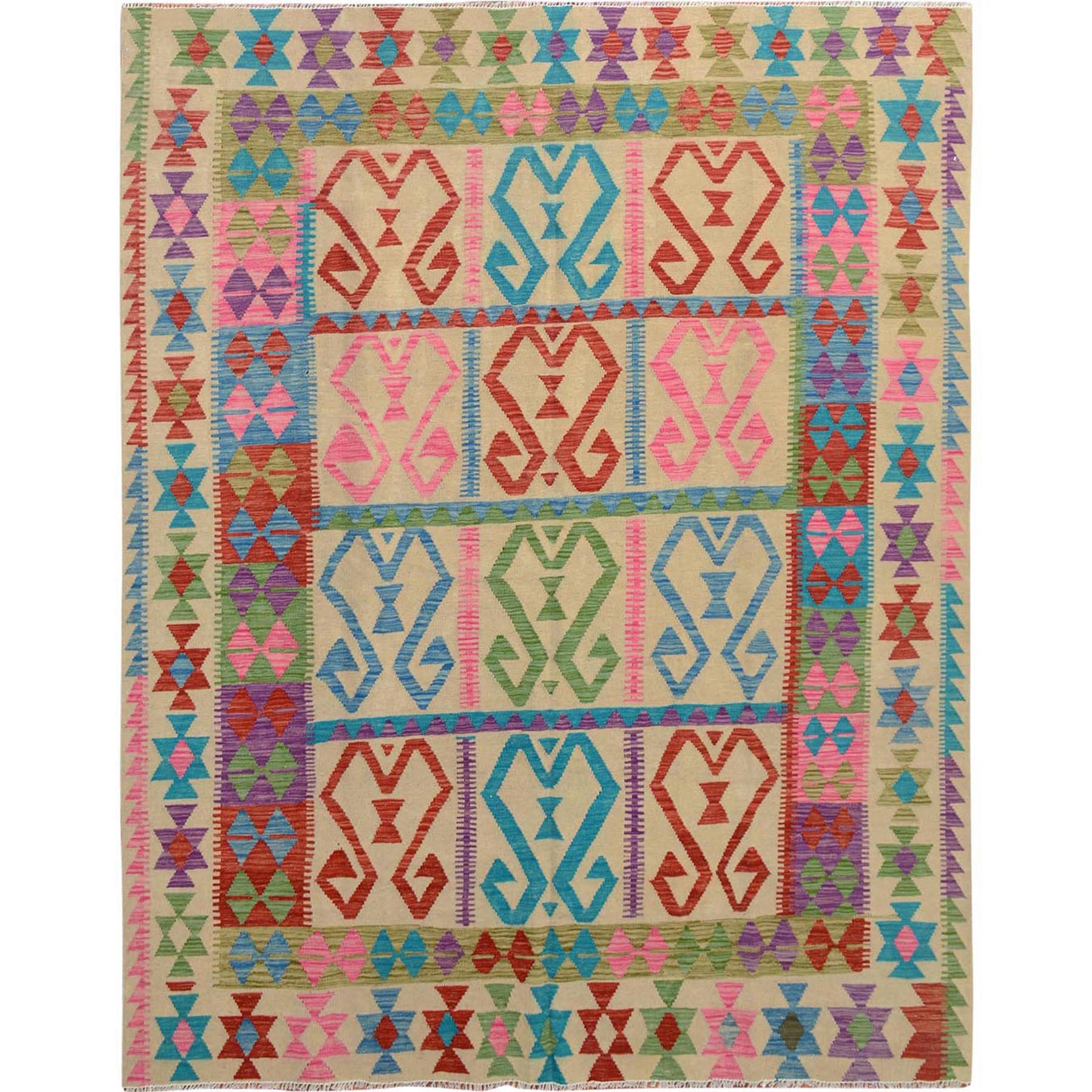 Fine Kilim Collection Hand Woven Pink Rug No: 1114928
