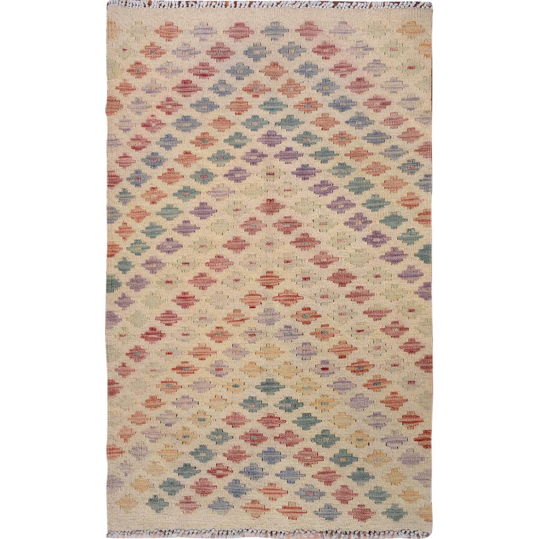 Fine Kilim Collection Hand Woven Ivory Rug No: 01115192