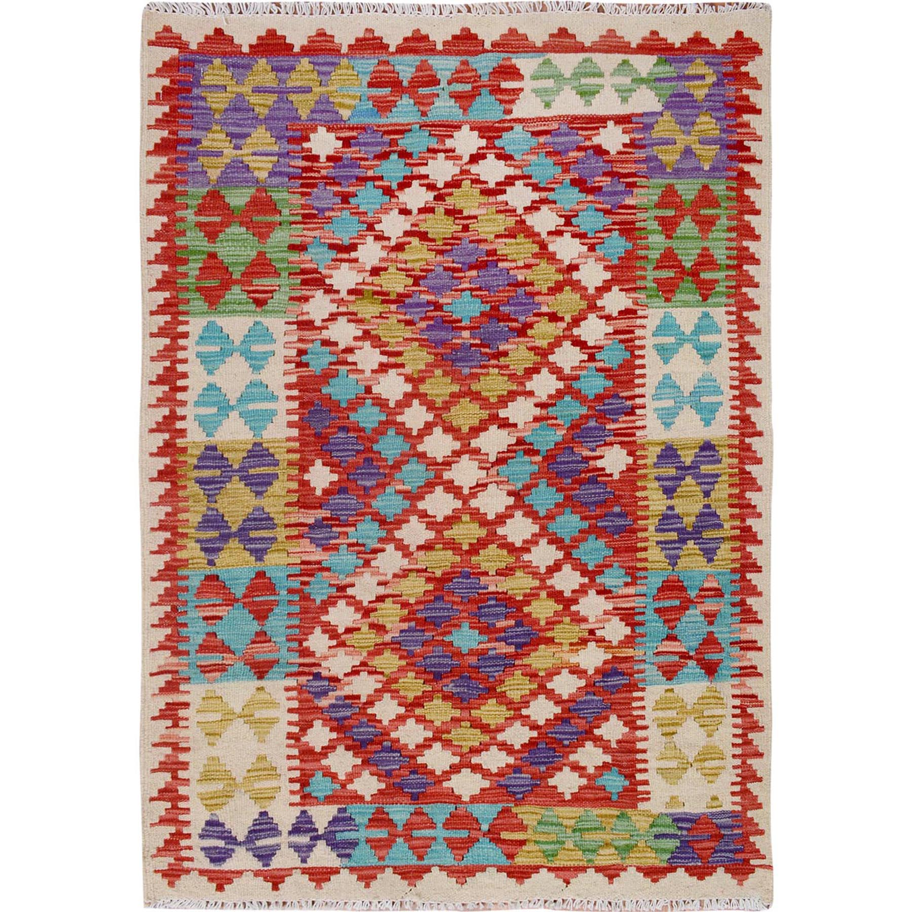 Fine Kilim Collection Hand Woven Ivory Rug No: 01115194