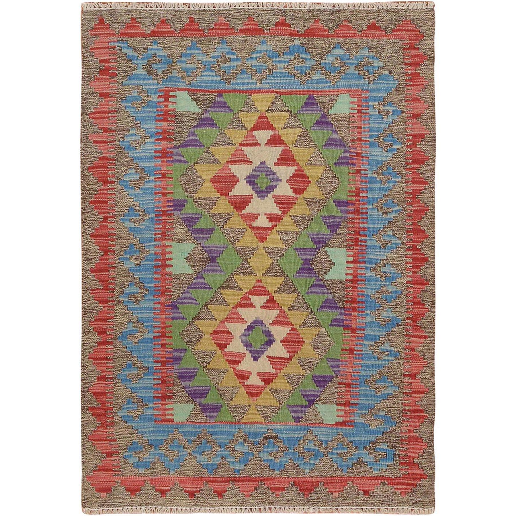 Fine Kilim Collection Hand Knotted Green Rug No: 01115116