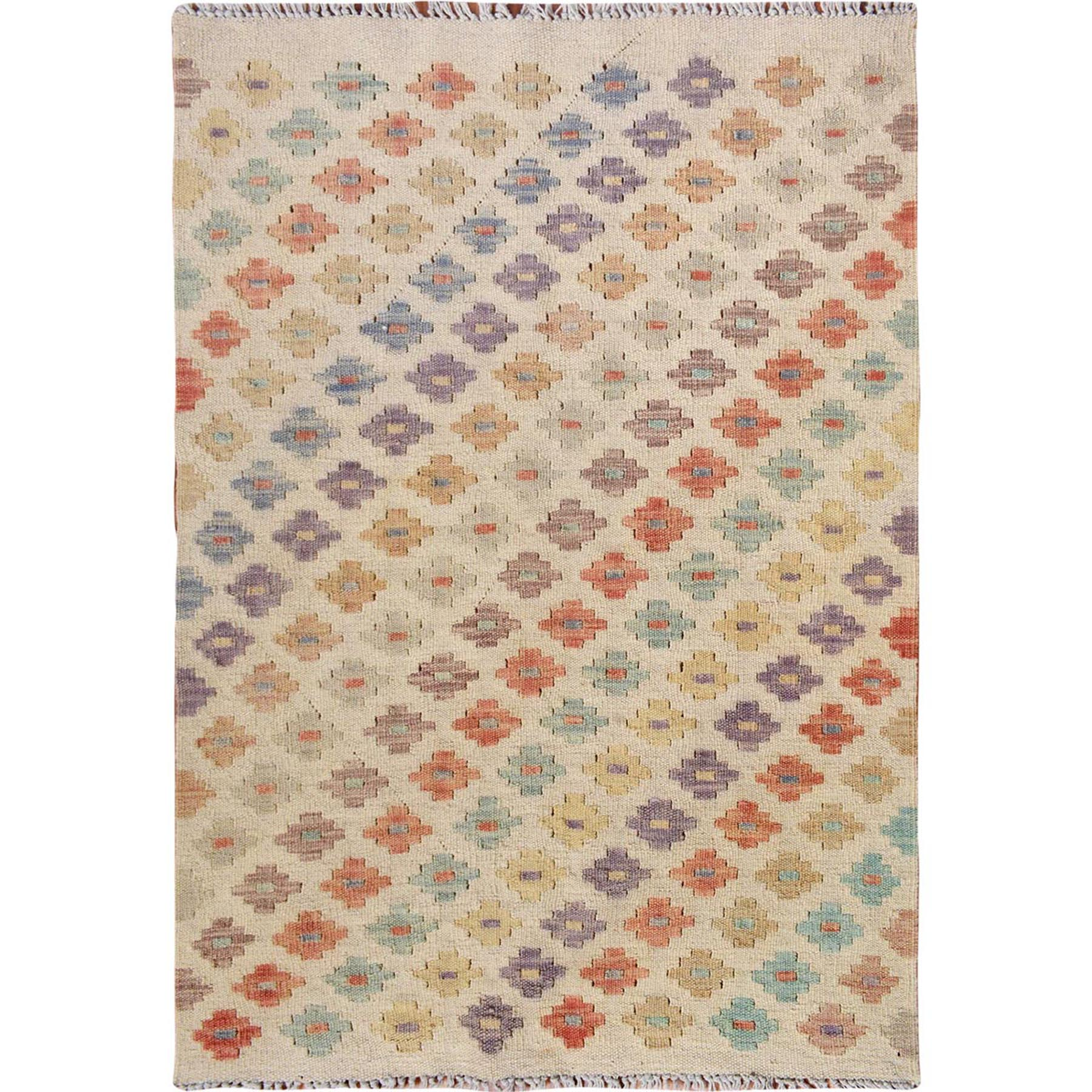 Fine Kilim Collection Hand Woven Ivory Rug No: 01115196