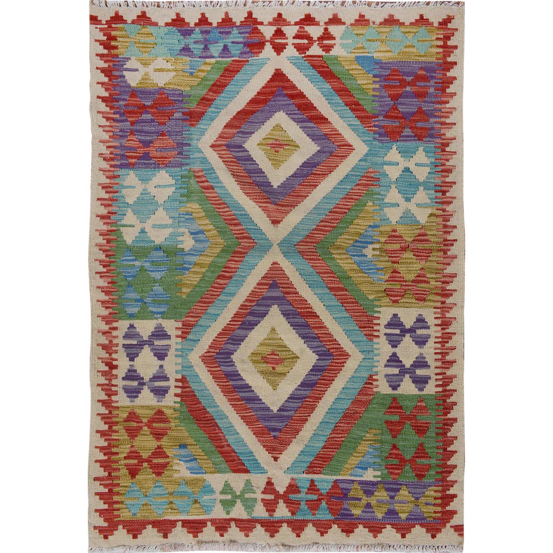 Fine Kilim Collection Hand Woven Ivory Rug No: 01115200