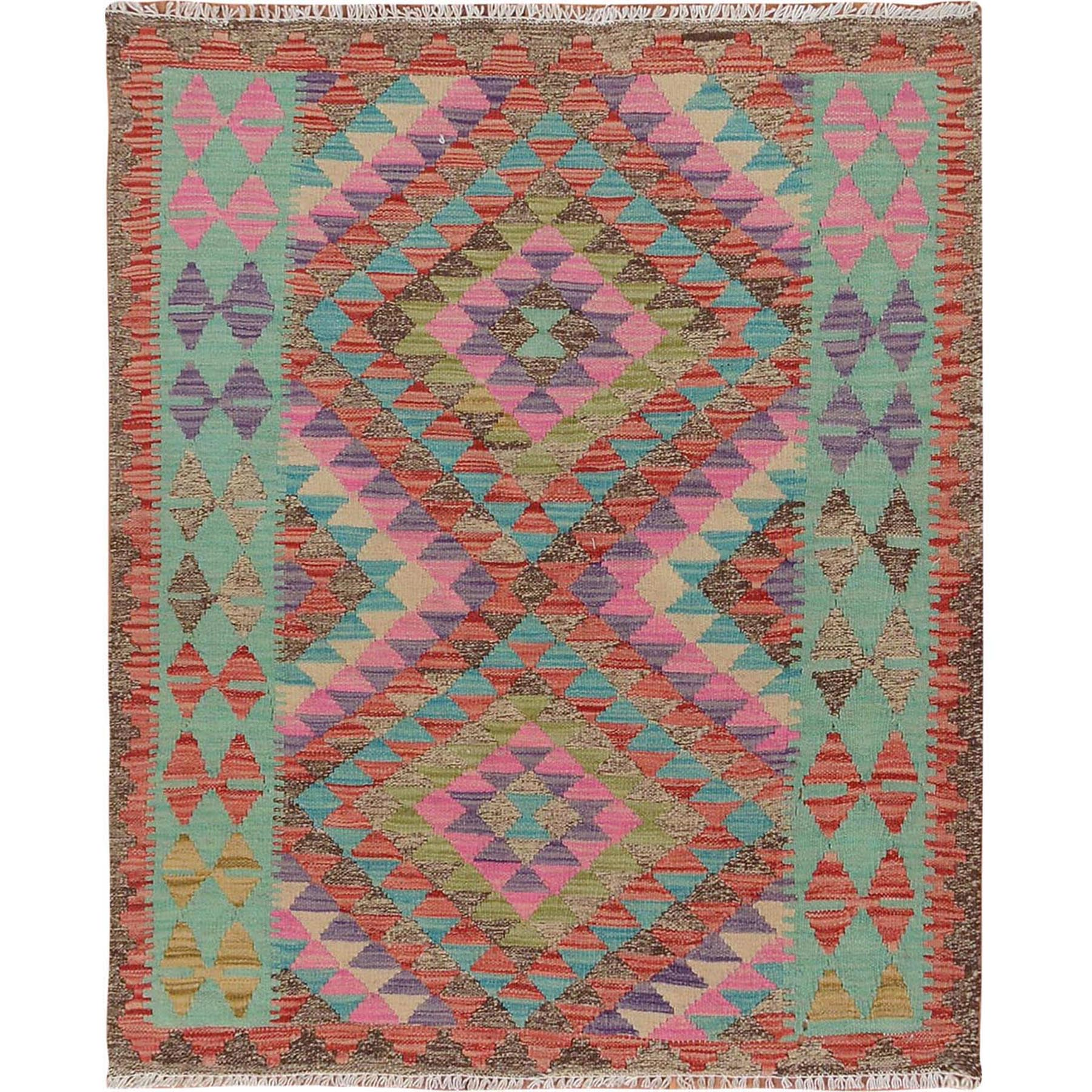 Fine Kilim Collection Hand Woven Green Rug No: 1115128