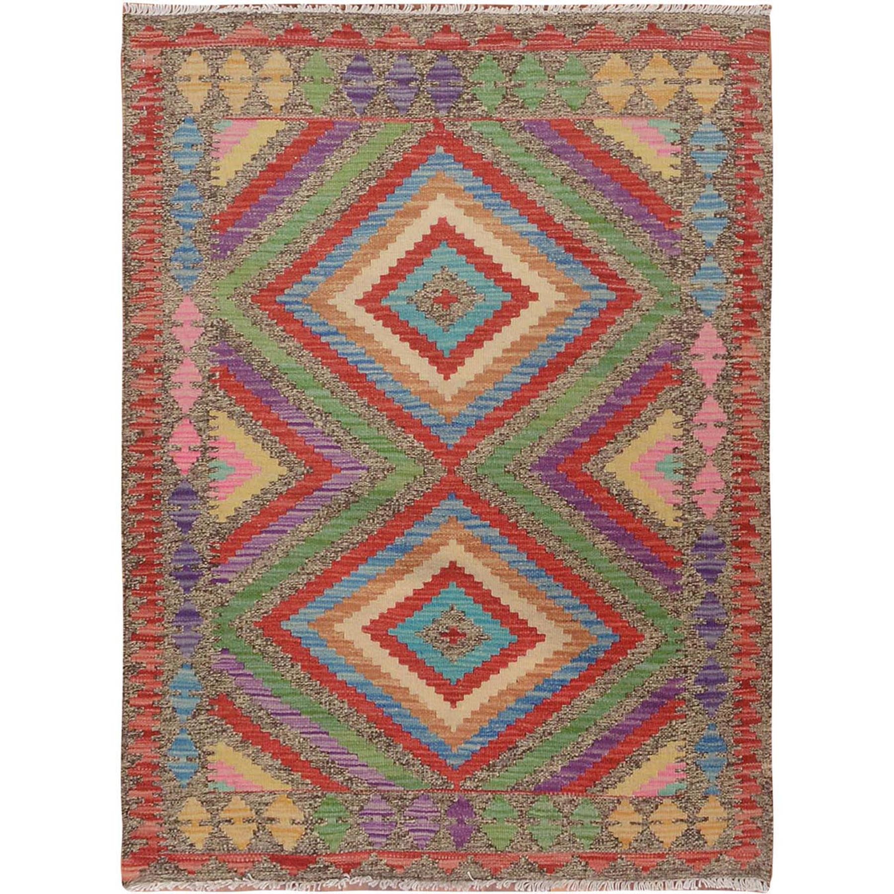 Fine Kilim Collection Hand Woven Green Rug No: 01115132