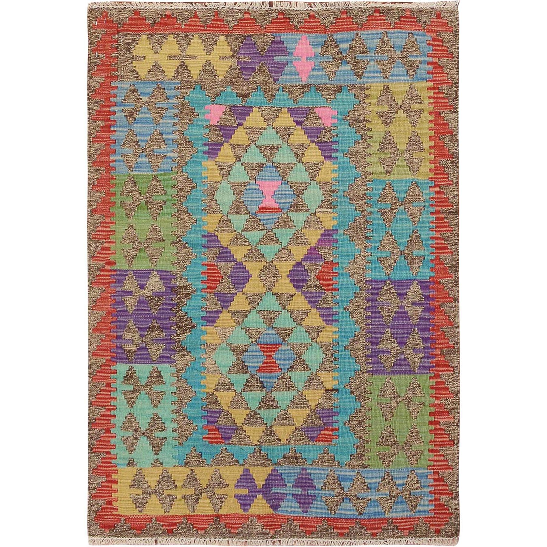 Fine Kilim Collection Hand Woven Green Rug No: 01115150
