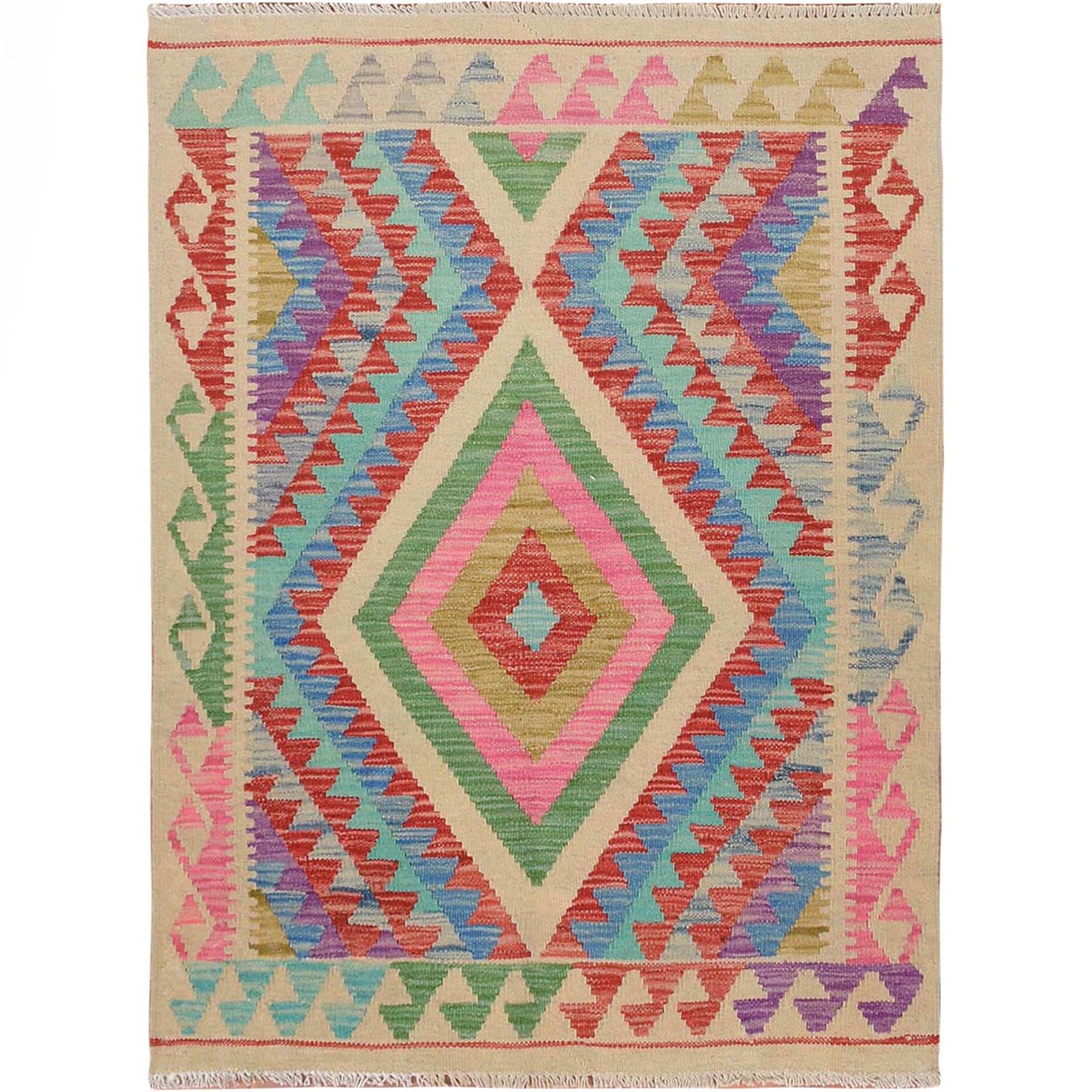 Fine Kilim Collection Hand Woven Green Rug No: 01115154