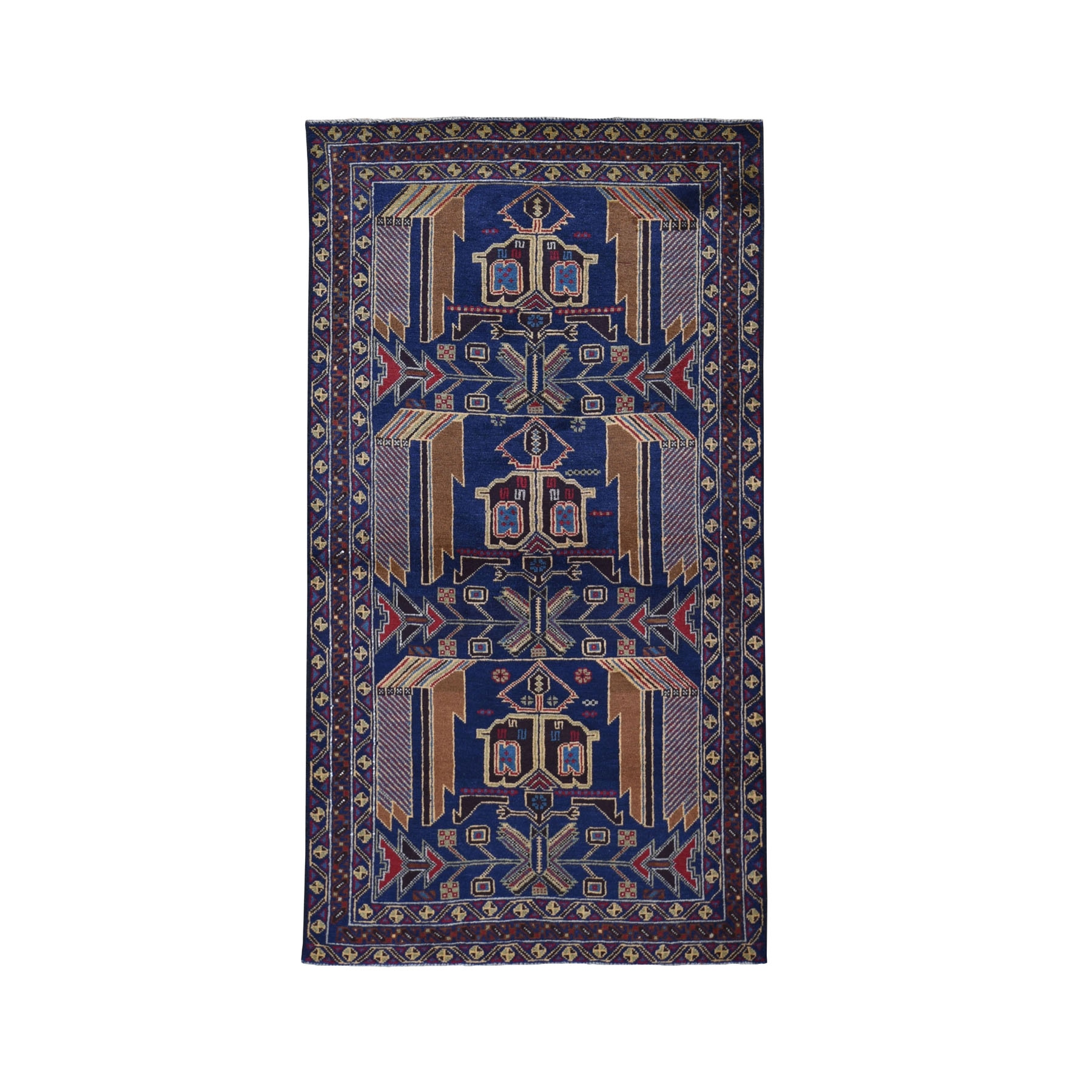 Nomadic And Village Collection Hand Knotted Blue Rug No: 199418