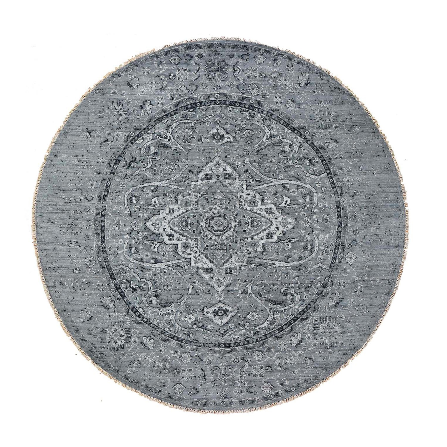 Transitional Hand Knotted Grey Rug No: 197054