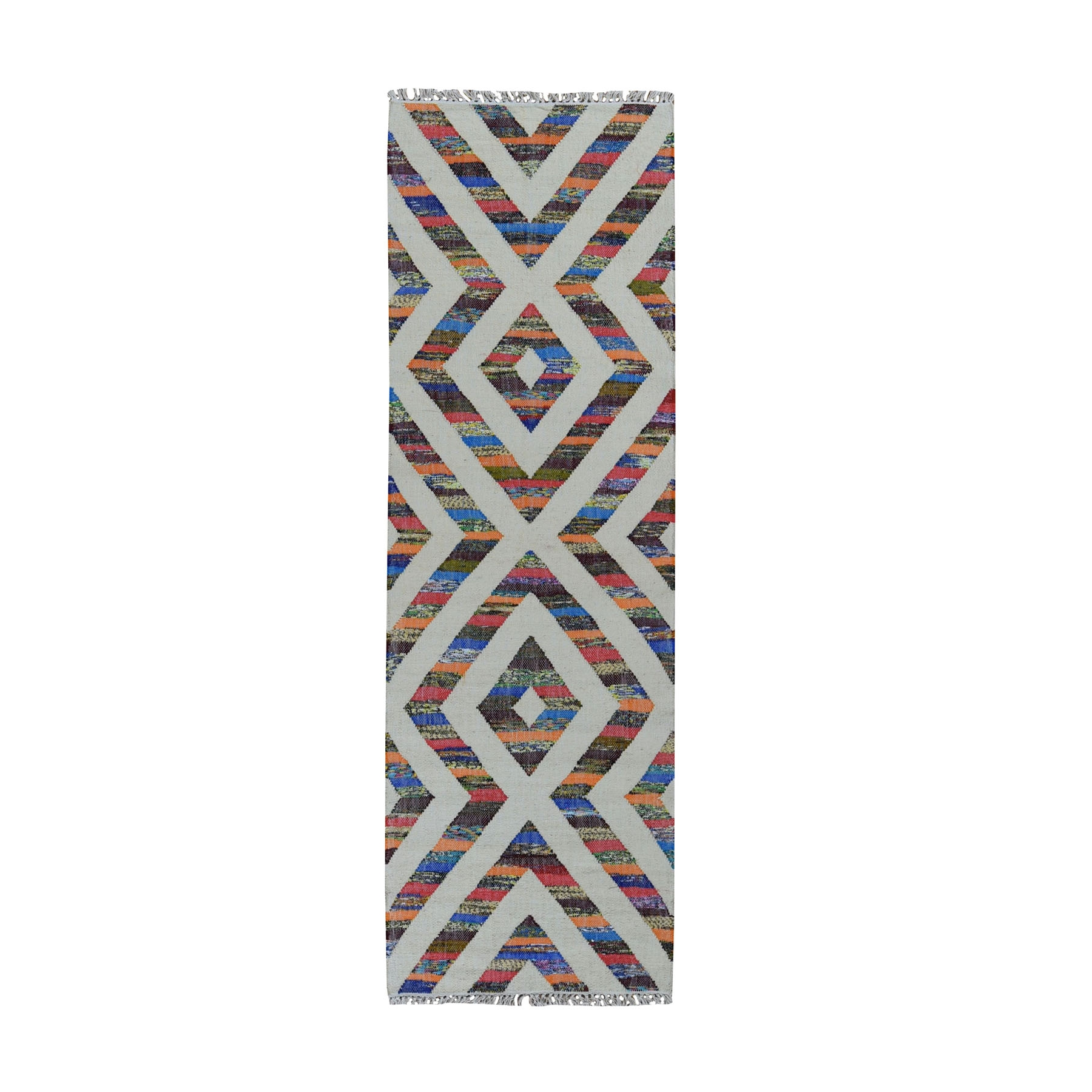 Fine Kilim Collection Hand Woven Ivory Rug No: 0199550