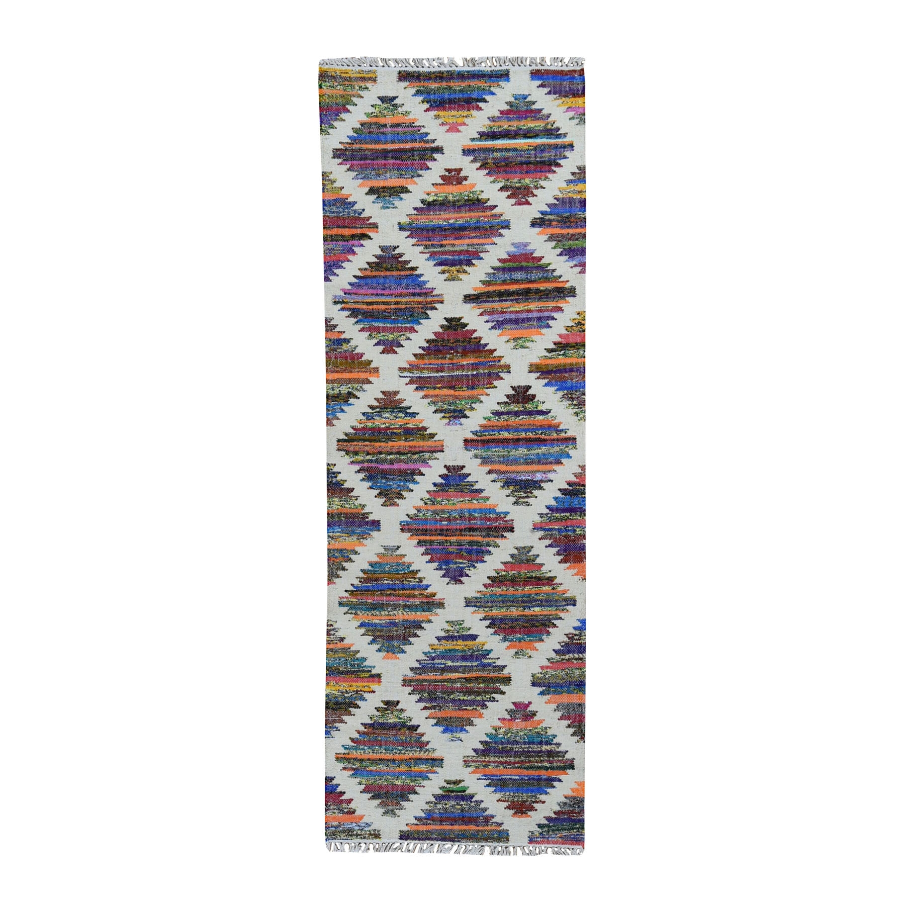 Fine Kilim Collection Hand Woven Ivory Rug No: 0199552