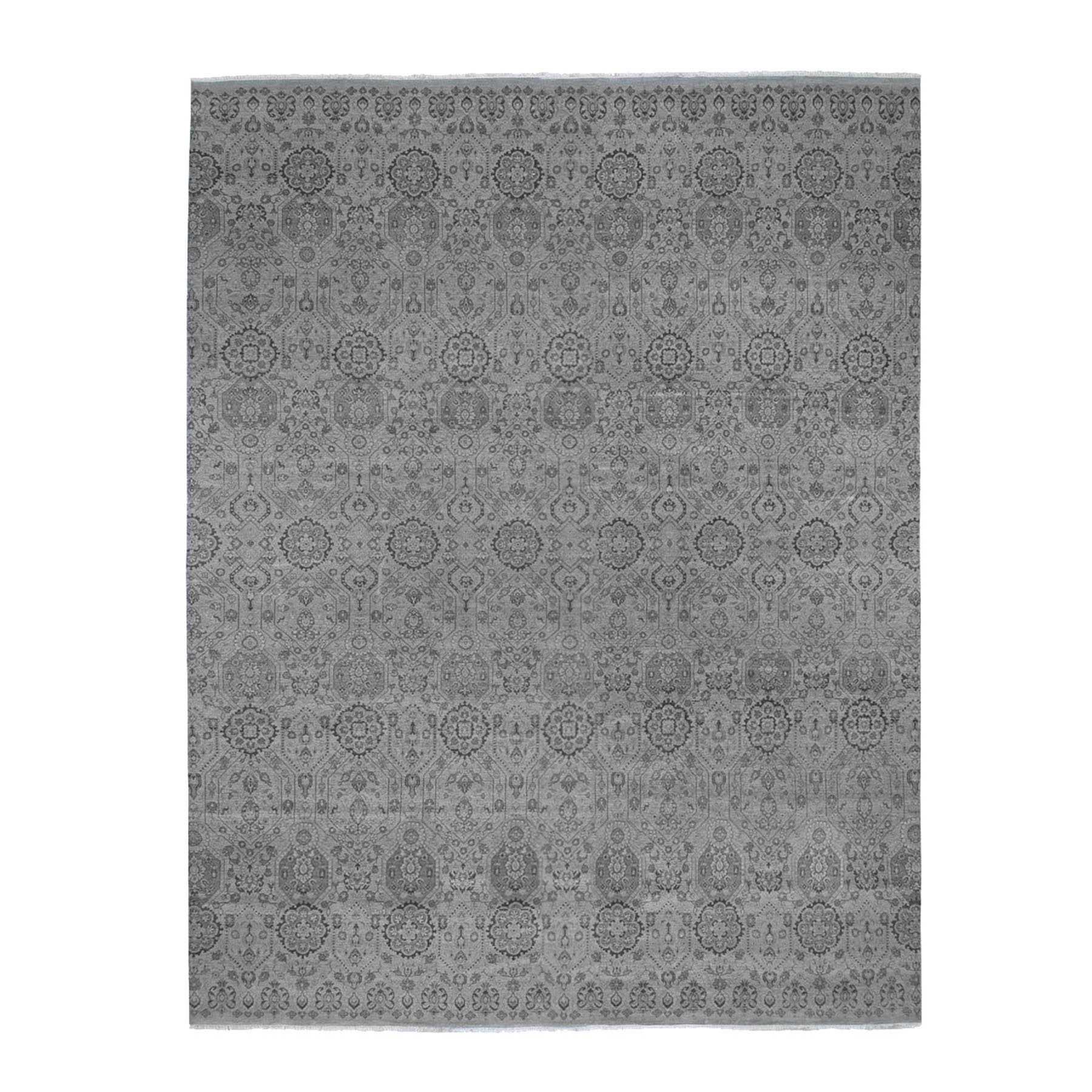 Mid Century Modern Collection Hand Knotted Grey Rug No: 199812