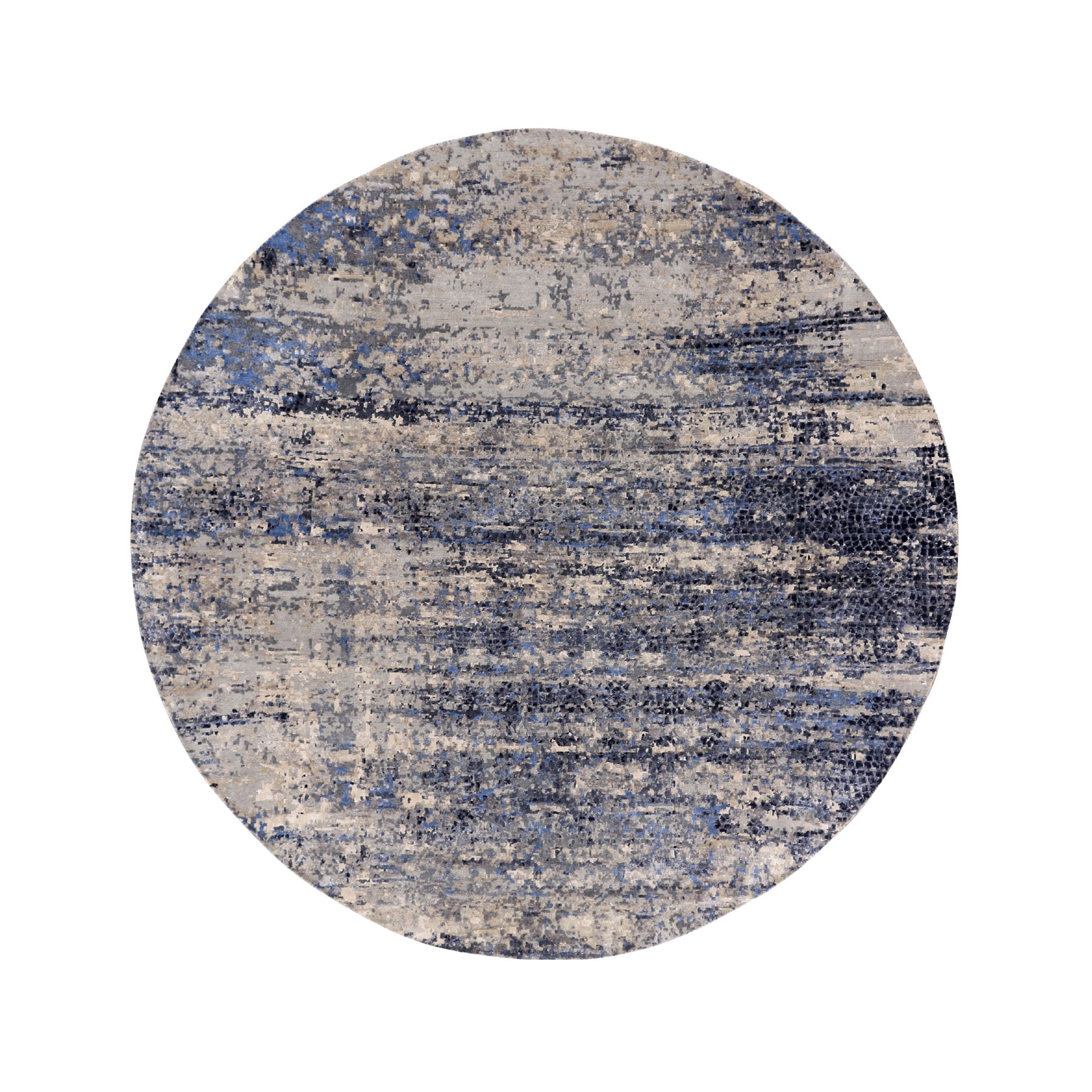 Mid Century Modern Collection Hand Knotted Blue Rug No: 1116030