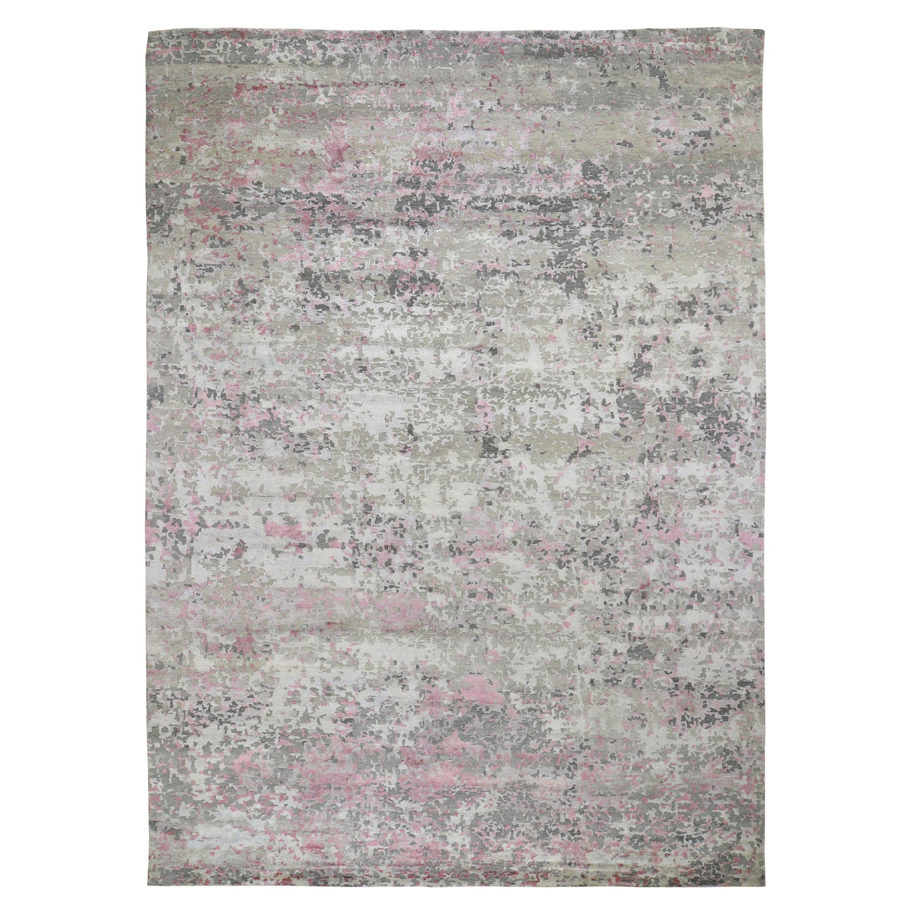 Mid Century Modern Collection Hand Knotted Pink Rug No: 196432