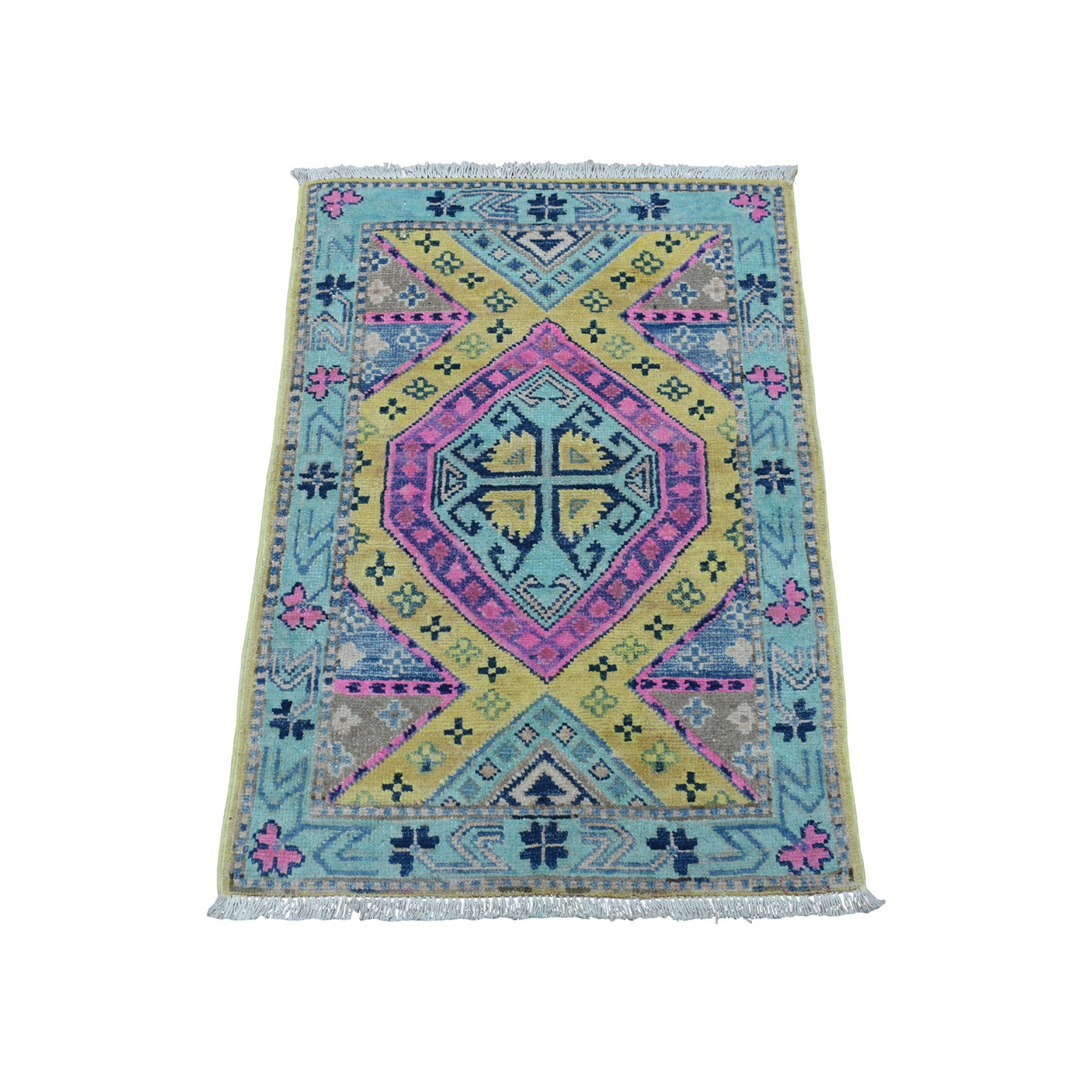 Caucasian Collection Hand Knotted Yellow Rug No: 01109956