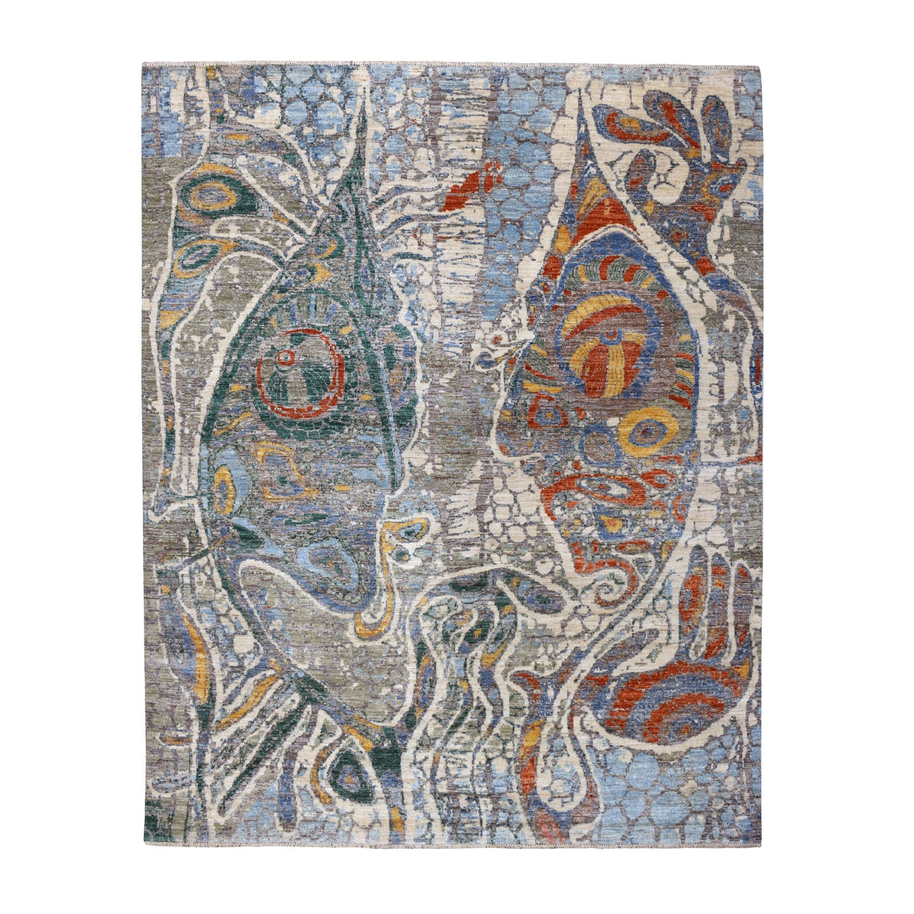 Mid Century Modern Collection Hand Knotted Ivory Rug No: 1109802