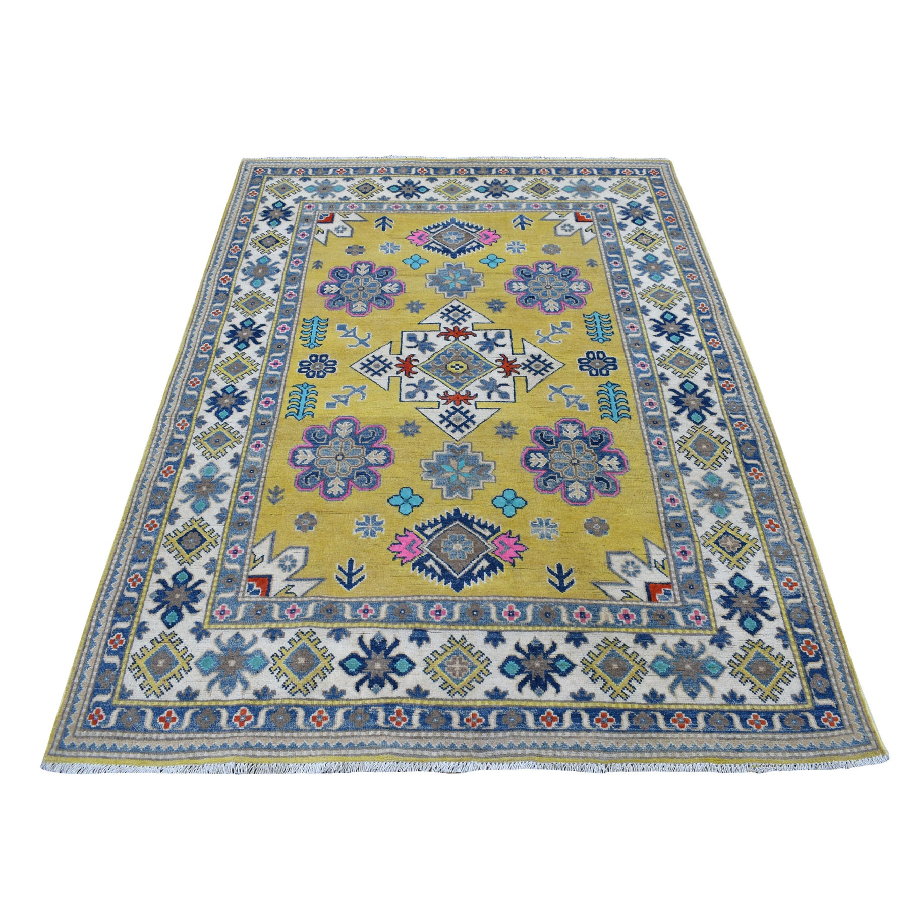 Caucasian Collection Hand Knotted Yellow Rug No: 01109872