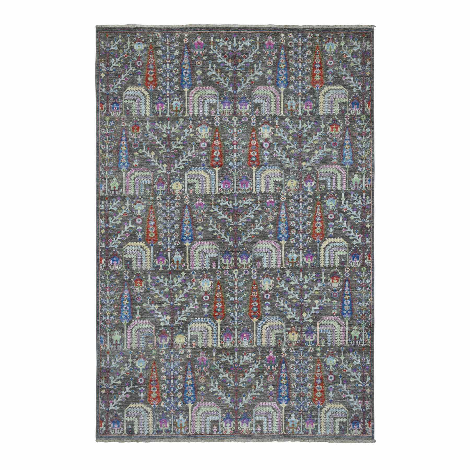 Transitional Hand Knotted Grey Rug No: 01110210