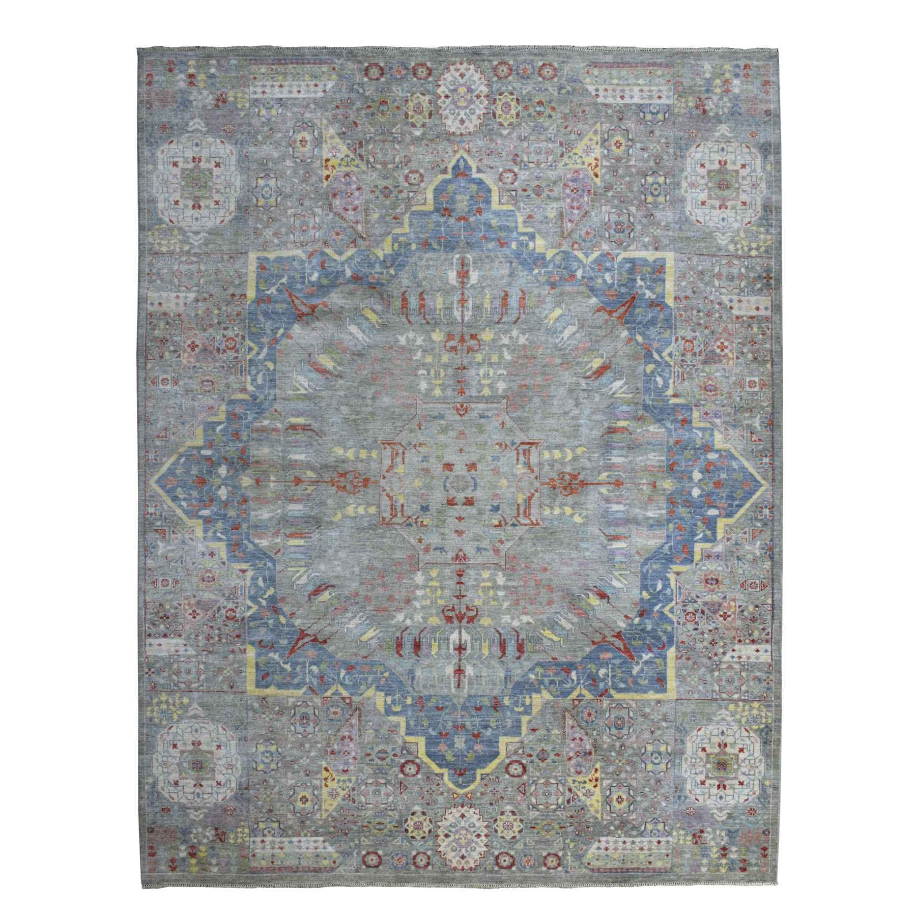 Agra And Turkish Collection Hand Knotted Grey Rug No: 1110318