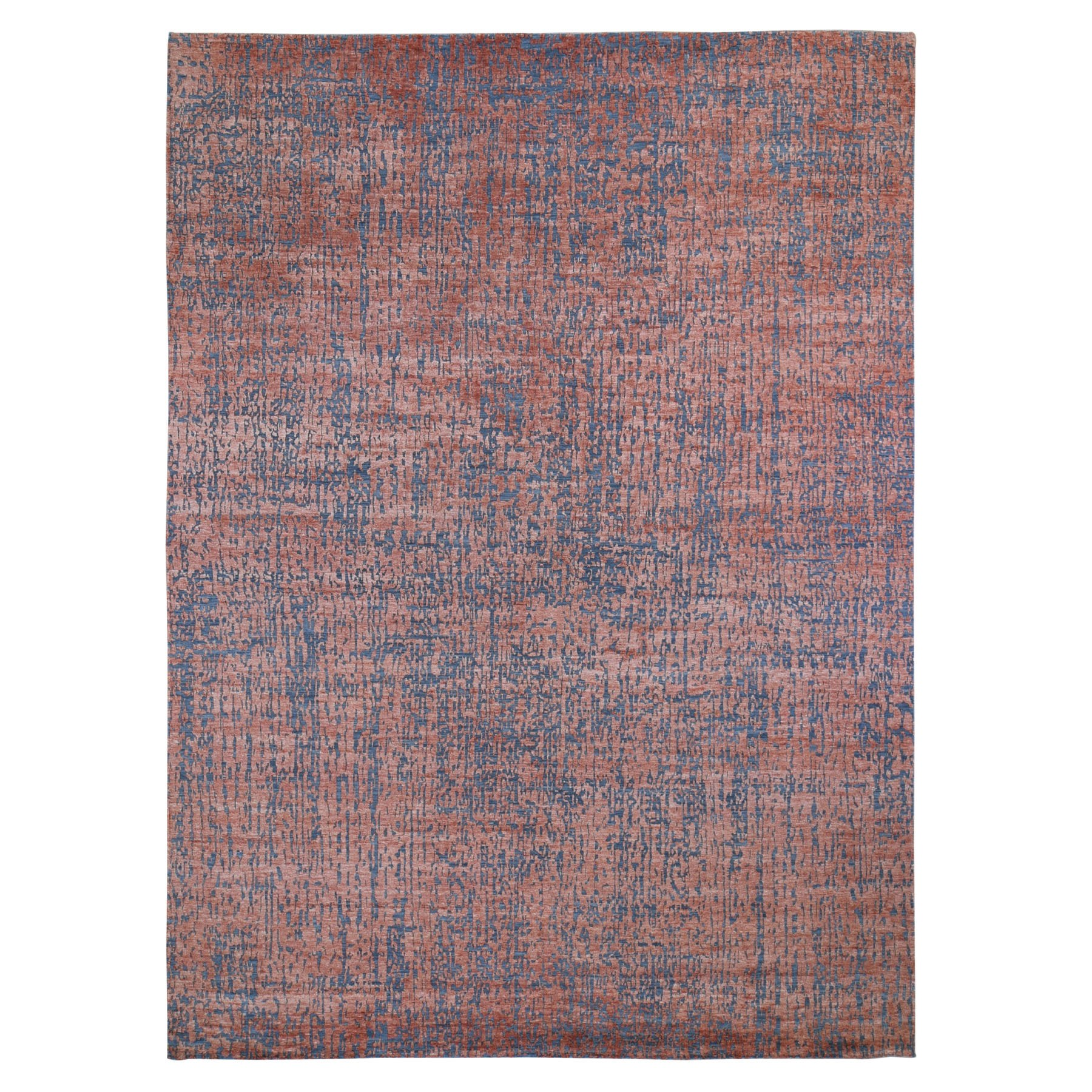 Mid Century Modern Collection Hand Knotted Red Rug No: 01118060