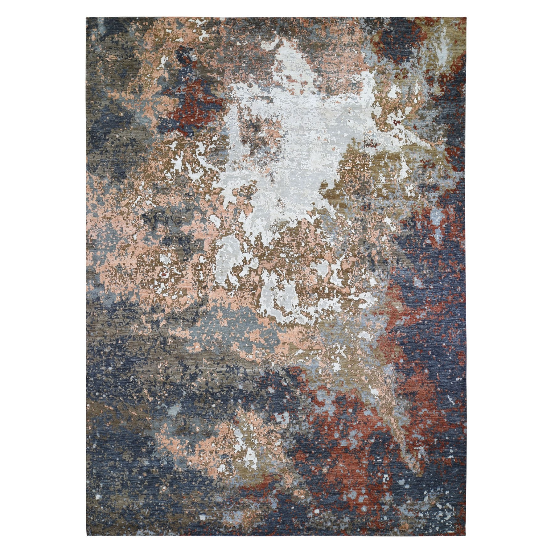 Mid Century Modern Collection Hand Knotted Grey Rug No: 1118062