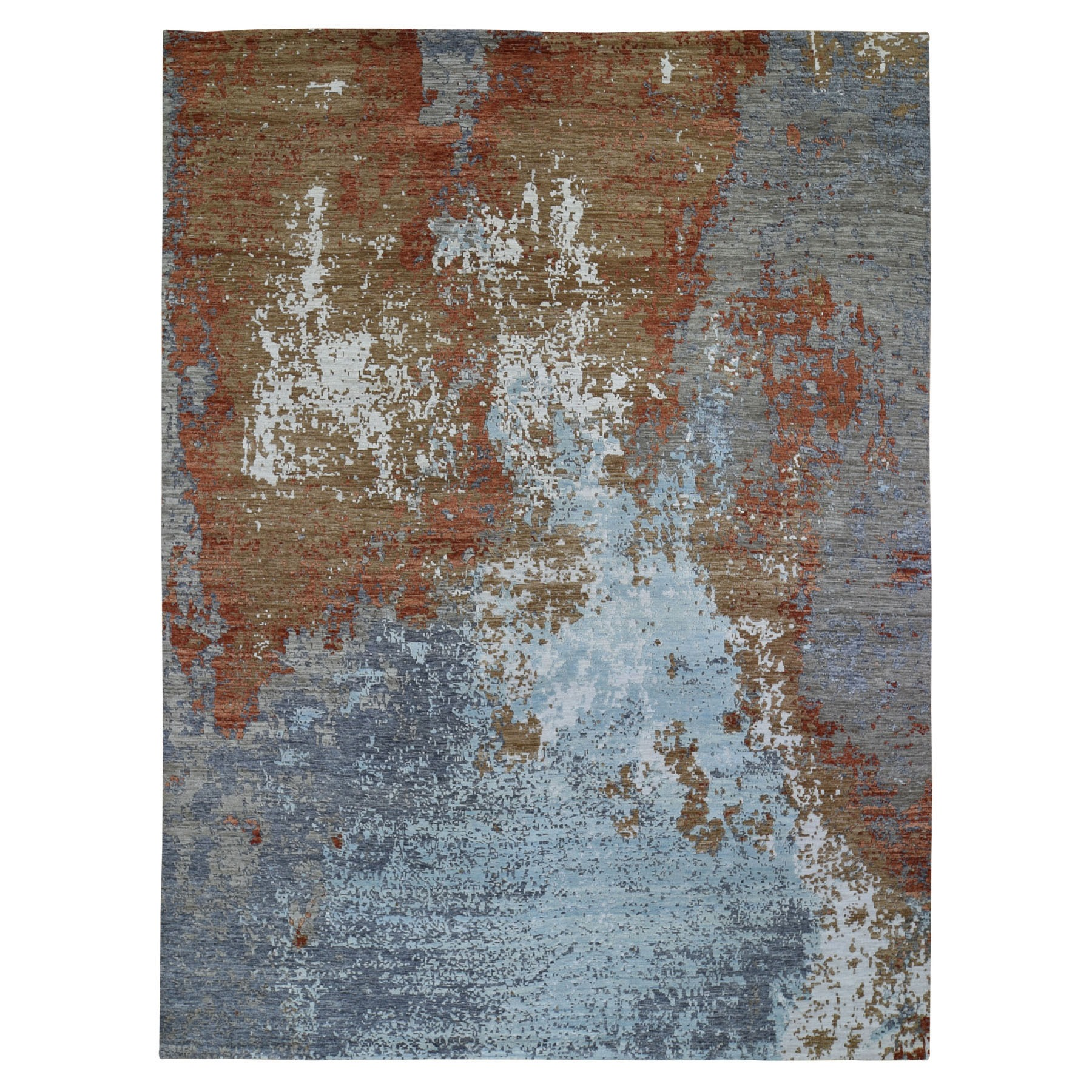 Mid Century Modern Collection Hand Knotted Brown Rug No: 01118064