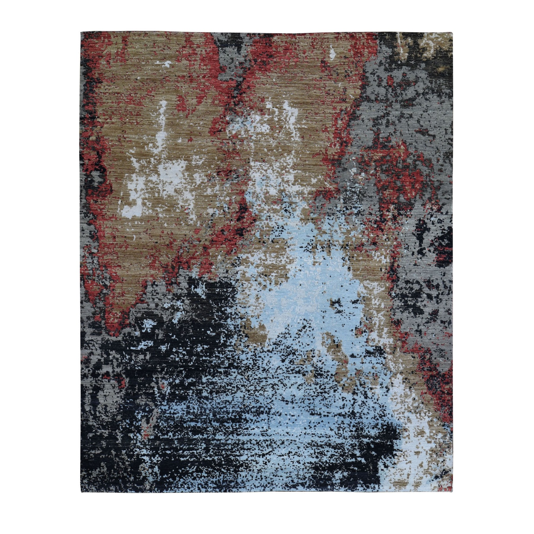 Mid Century Modern Collection Hand Knotted Black Rug No: 1118068